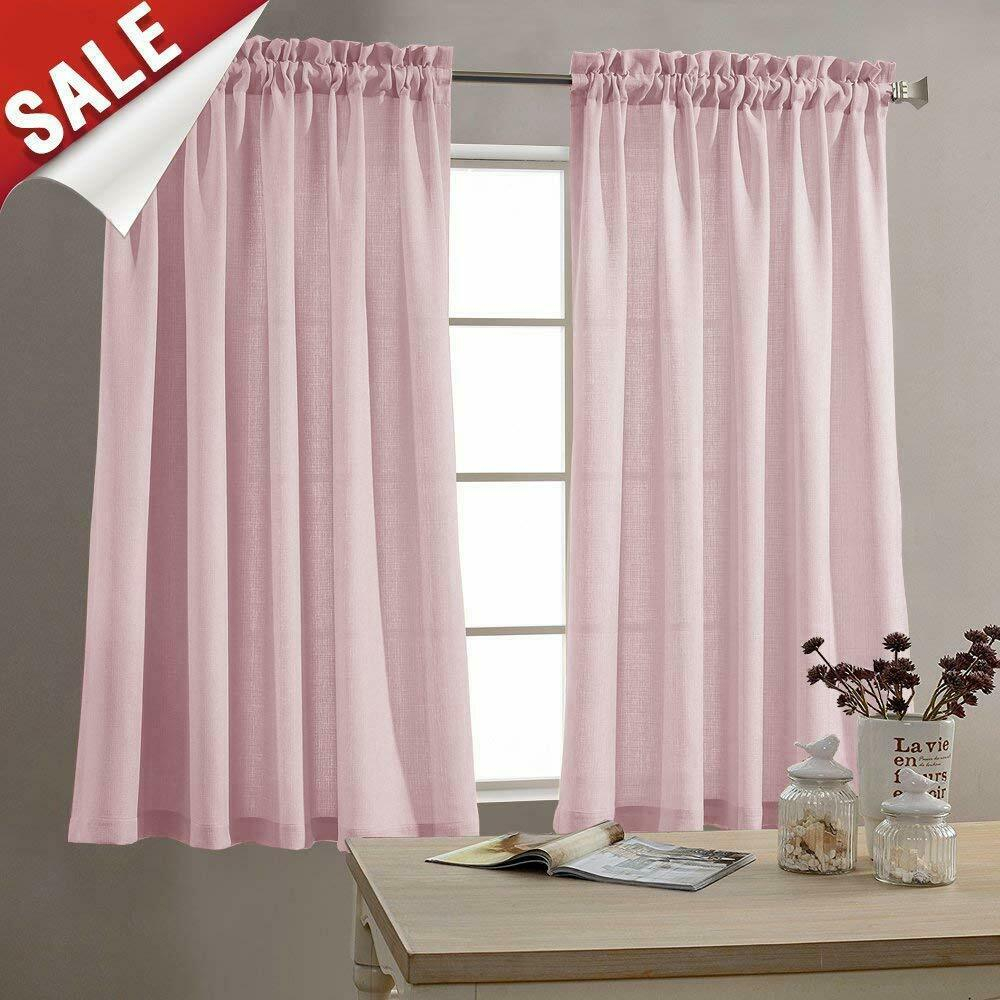 Semi Sheer Short Curtains Rod Pocket Kitchen Tier Cafe Curtains, 2 Panel Throughout Serene Rod Pocket Kitchen Tier Sets (View 18 of 20)