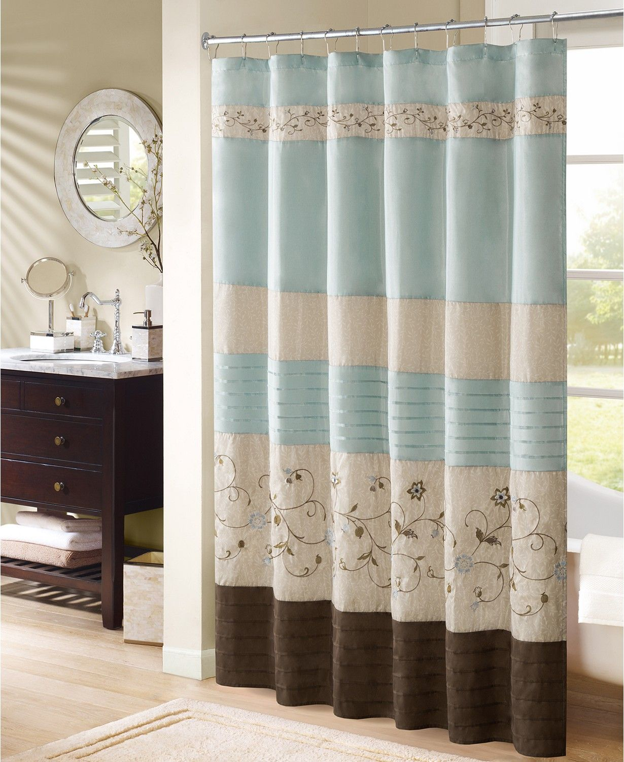 Serene 72 X 72 Faux Silk Embroidered Floral Shower Curtain For Floral Embroidered Faux Silk Kitchen Tiers (View 20 of 20)