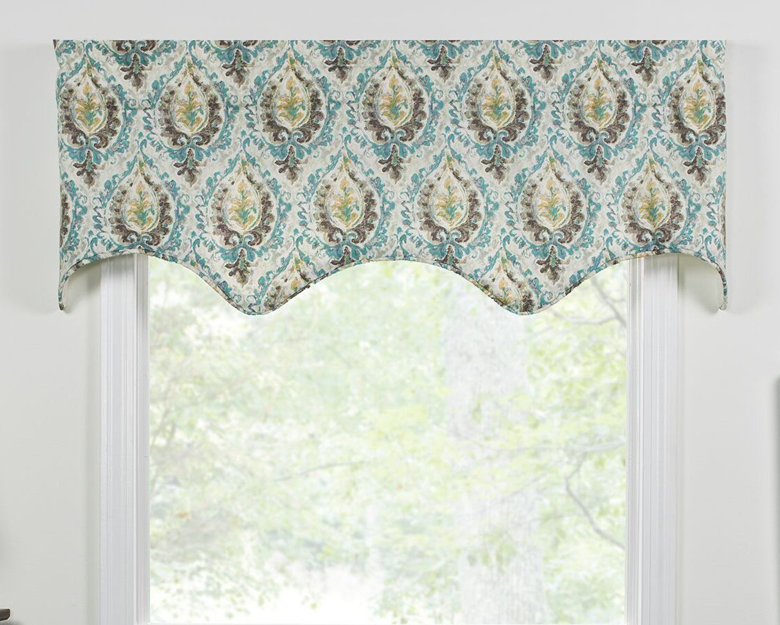 Shaped Valances: Solid, Patterned, Cornice, Box Pleat Inside Grace Cinnabar 5 Piece Curtain Tier And Swag Sets (View 19 of 20)