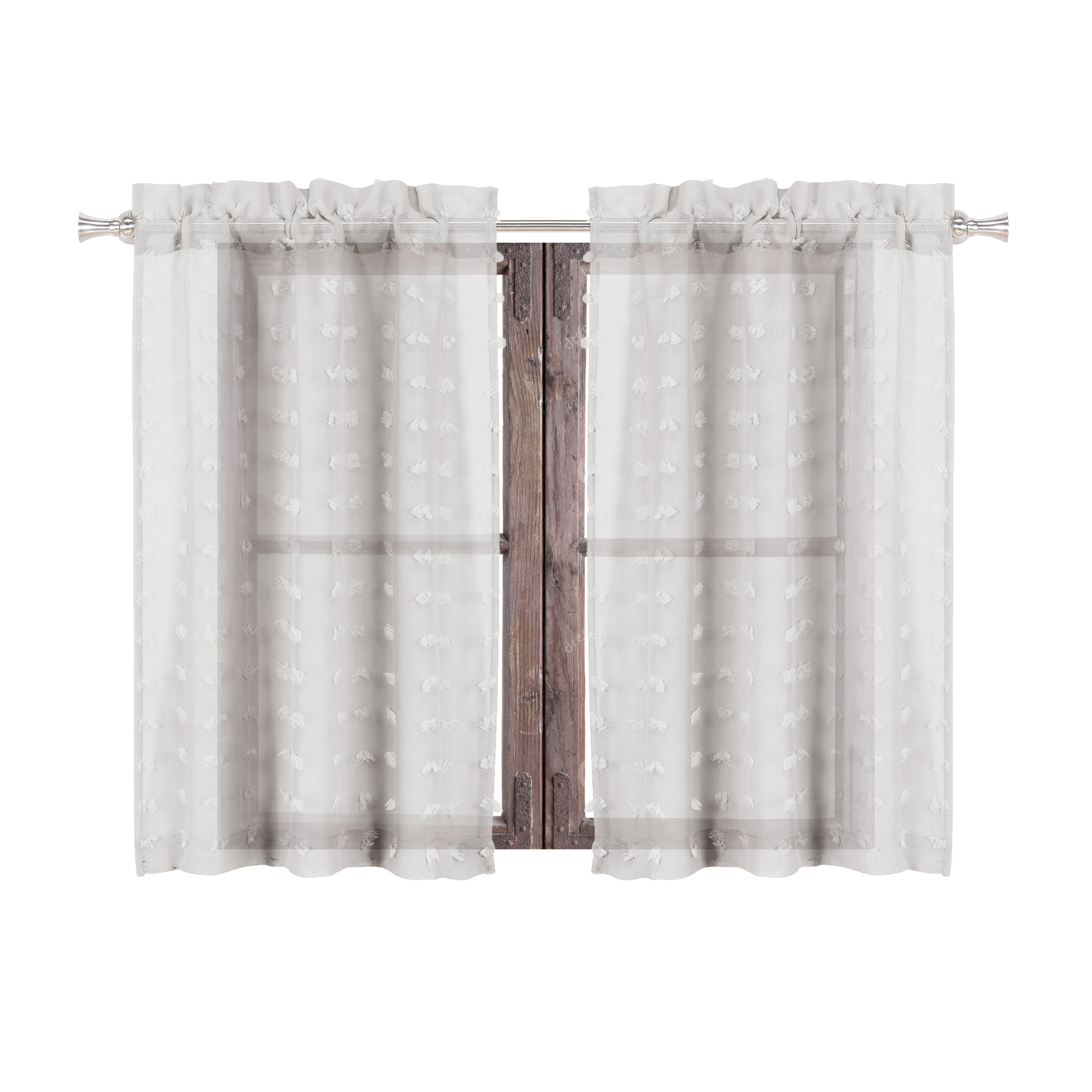 Sheer 2 Piece Silver Café/tier Curtain Set: 3 D Soft Tufts Inside Chic Sheer Voile Vertical Ruffled Window Curtain Tiers (View 19 of 20)