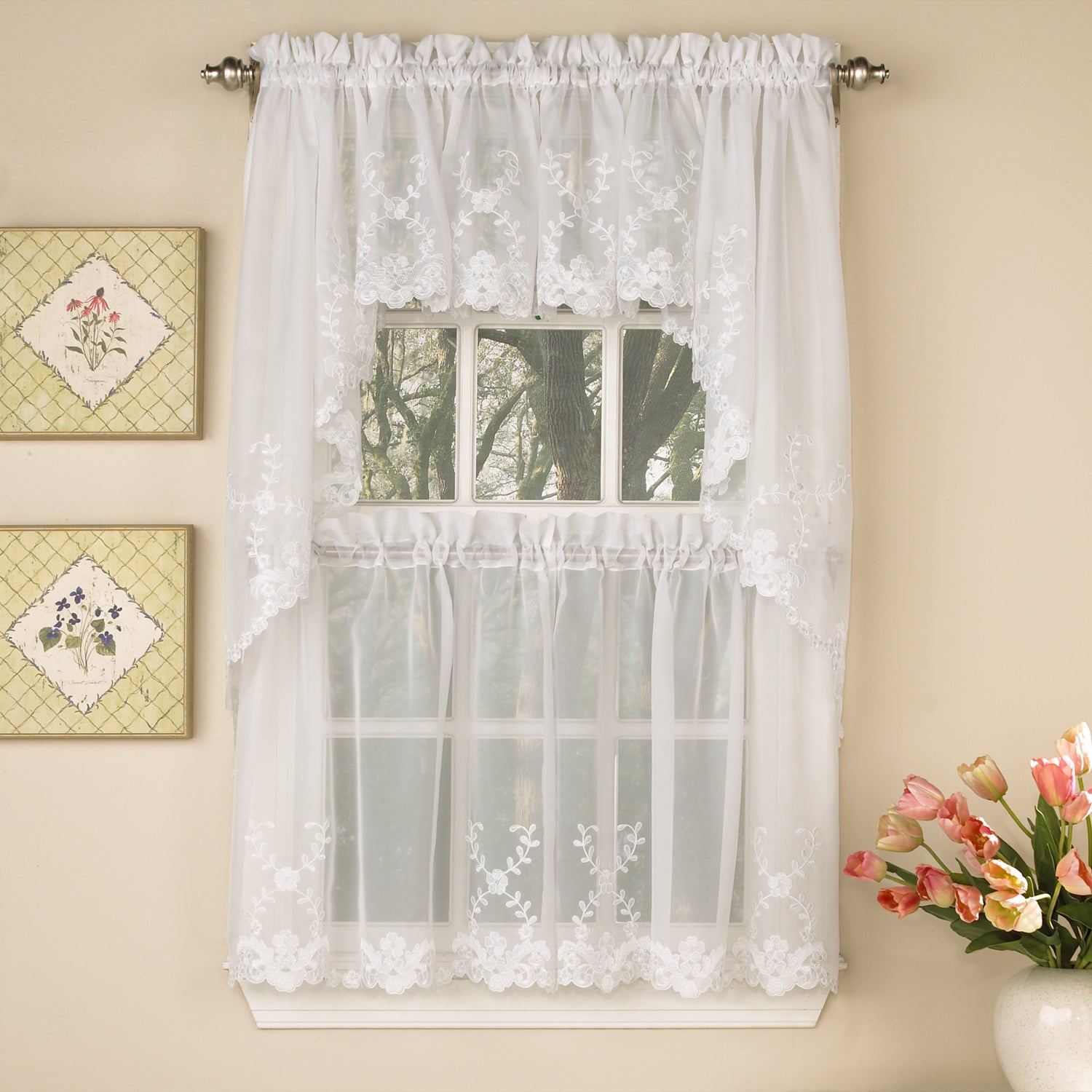 Sheer Voile Embroidered Scrolling Floral Leaf Pattern Window Curtain Pieces – Tiers, Valance And Swag Pair Options Throughout White Tone On Tone Raised Microcheck Semisheer Window Curtain Pieces (View 20 of 20)