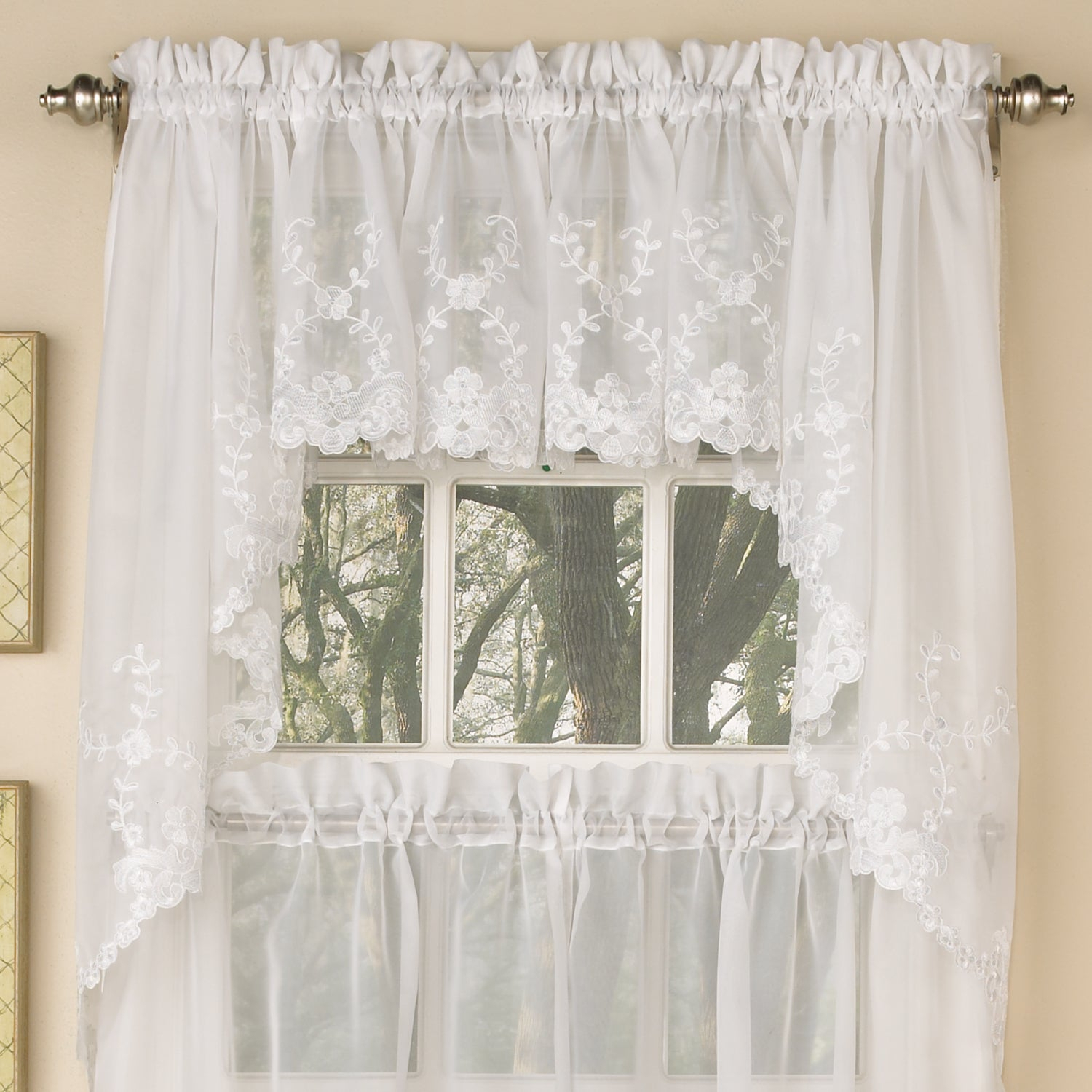 Sheer Voile Embroidered Scrolling Floral Leaf Pattern Window Curtain Pieces – Tiers, Valance And Swag Pair Options With Regard To White Tone On Tone Raised Microcheck Semisheer Window Curtain Pieces (View 19 of 20)