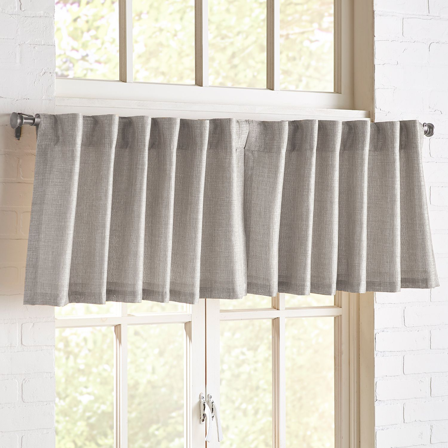 Shimmer Silver Valance | *curtains > Solid Curtains Regarding Silver Vertical Ruffled Waterfall Valance And Curtain Tiers (View 9 of 20)