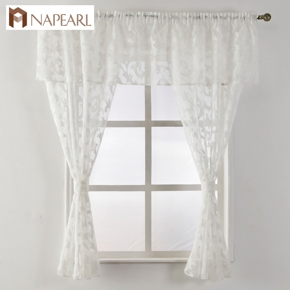 Short Curtain Valance Kitchen Window Small Organza Jacquard Fabrics Black White Beige Sheer Curtain Panel Tulle Window Treatment Within Classic Black And White Curtain Tiers (View 18 of 20)