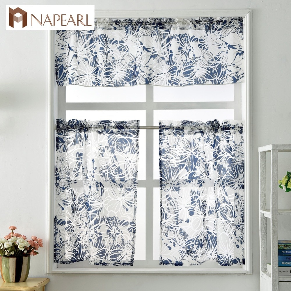 Short Kitchen Curtains Window Treatment Set Modern Cafe Curtain Panel Ready Made Rod Pocket Small Window Door Panel Sheer Tulle Throughout Embroidered Rod Pocket Kitchen Tiers (View 19 of 20)