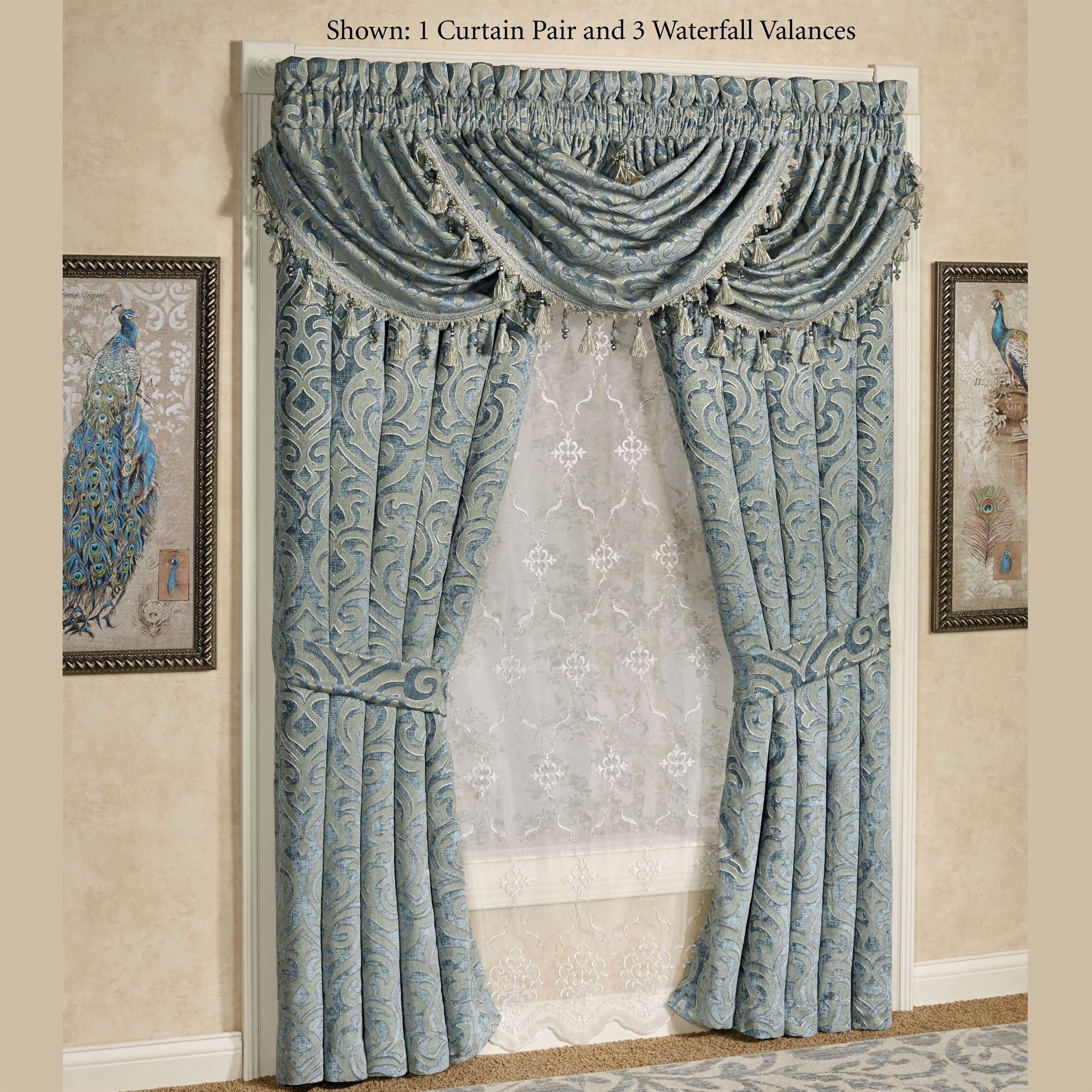 Sicily Teal Medallion Window Treatmentj Queen New York Pertaining To Medallion Window Curtain Valances (View 7 of 20)