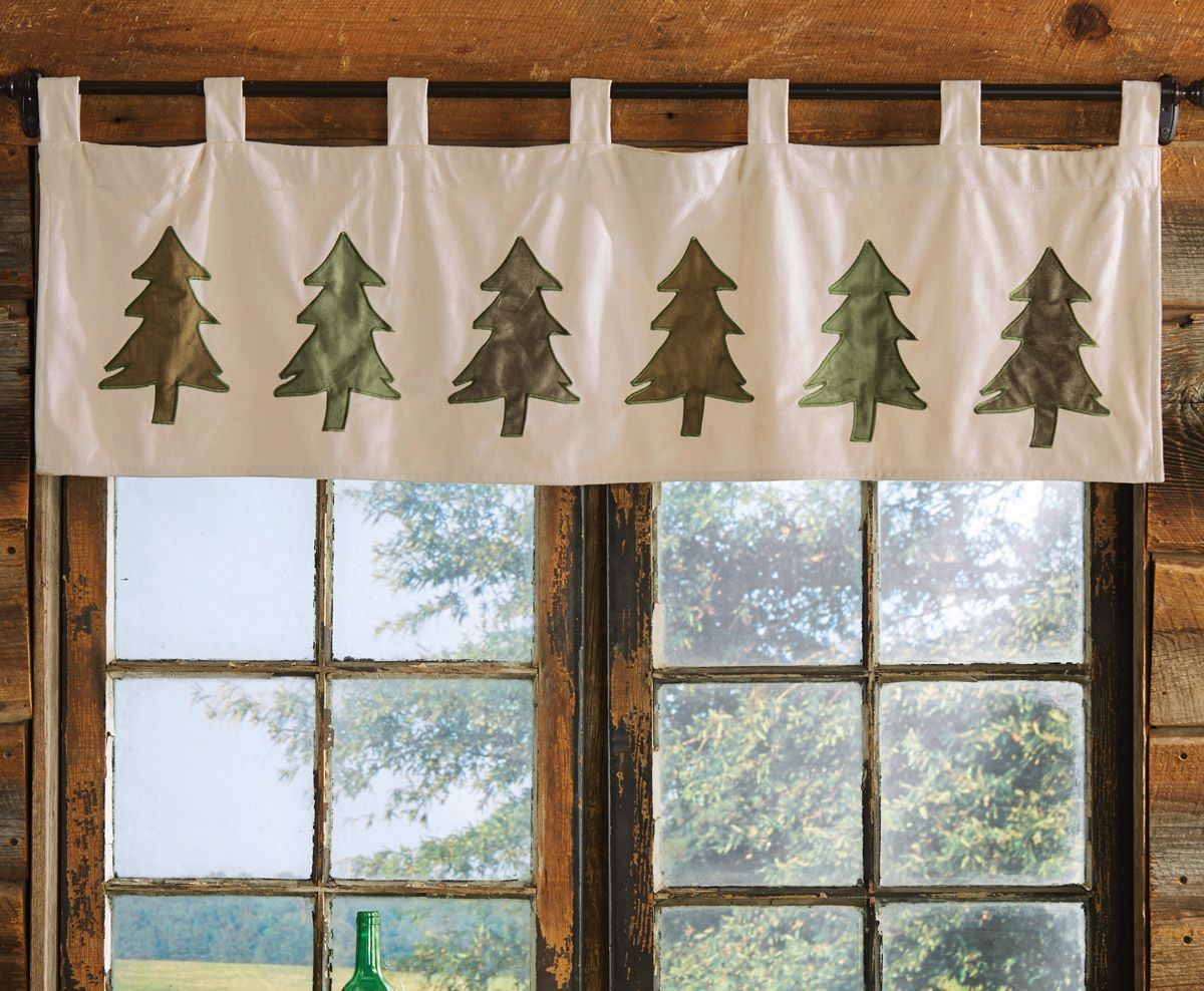 Six Pine Trees Valance In 2019 | Curtains, Valance, Rustic With Regard To Tree Branch Valance And Tiers Sets (View 3 of 20)