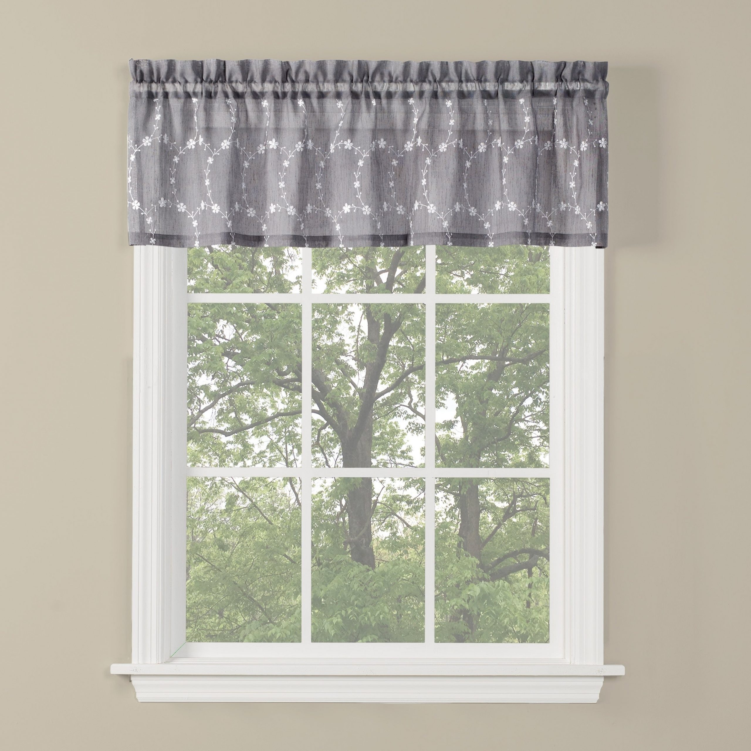 Skl Home Briarwood 13 Inch Valance In Dove Gray In Cumberland Tier Pairs In Dove Gray (View 10 of 20)