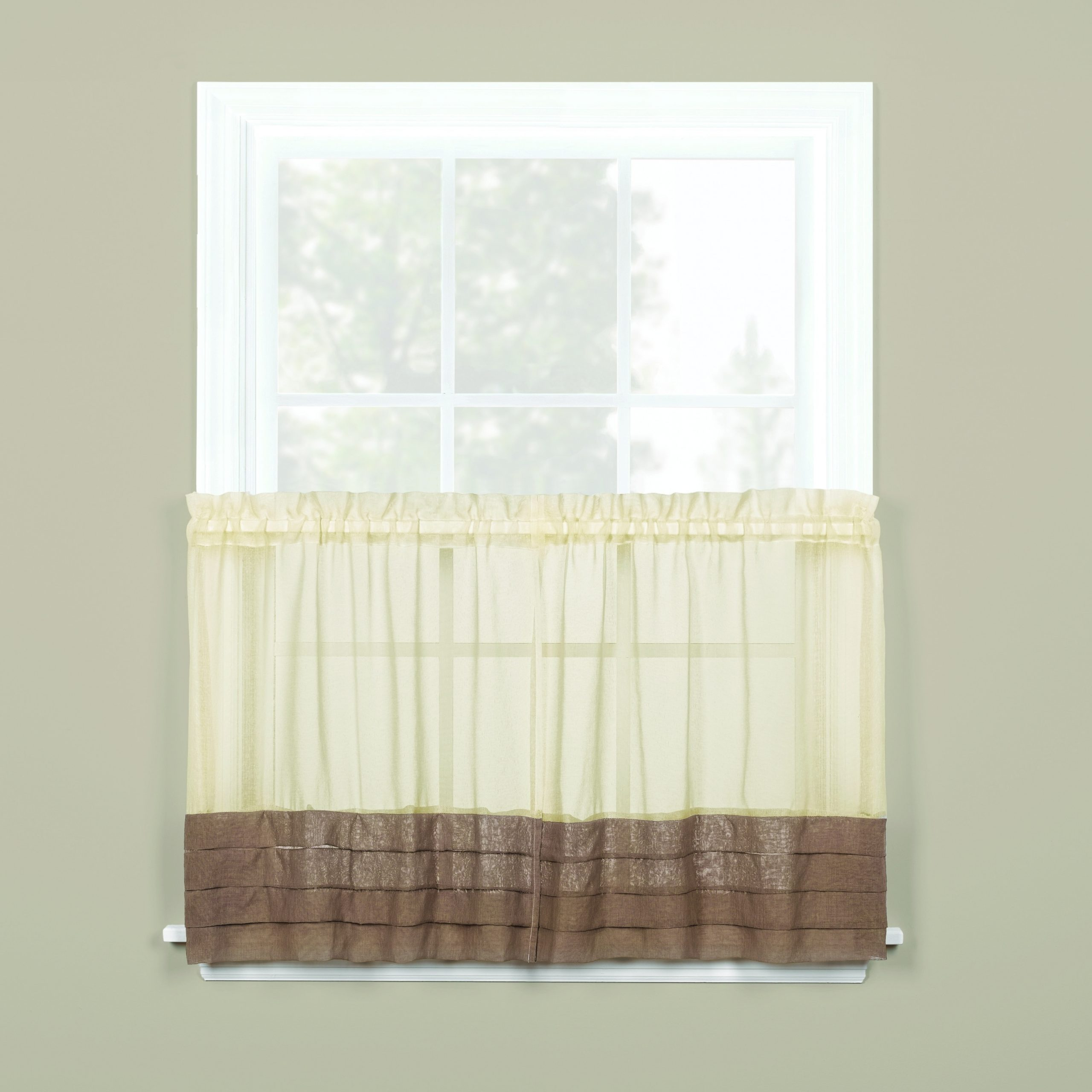 Skl Home Cielo 36 Inch Tier Pair In Brown/cream, Ivory(100 In Linen Stripe Rod Pocket Sheer Kitchen Tier Sets (View 14 of 20)