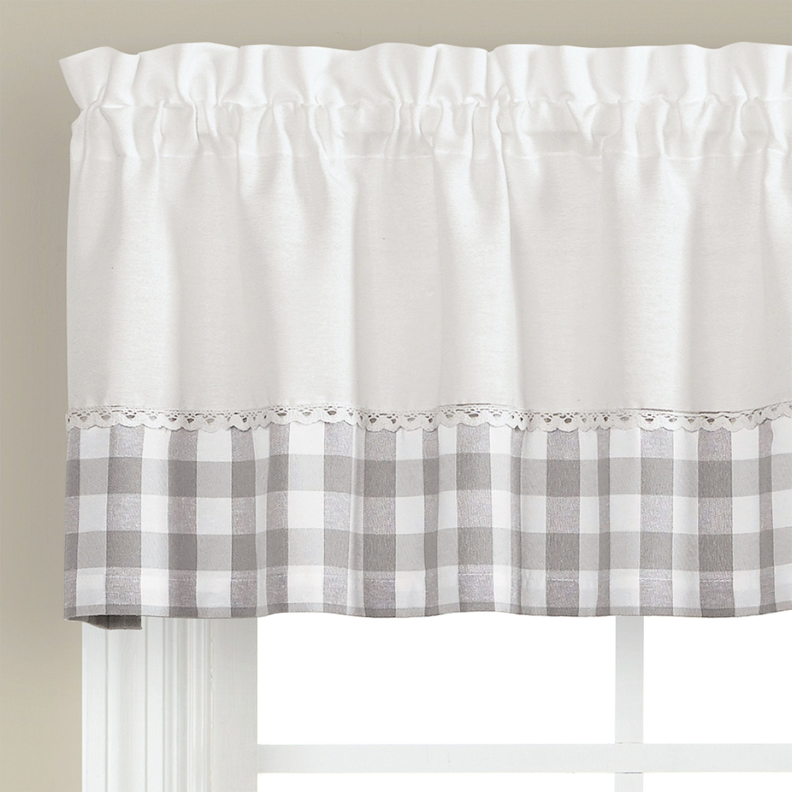 Skl Home Cumberland 13 Inch Valance In Dove Gray Within Cumberland Tier Pairs In Dove Gray (View 12 of 20)