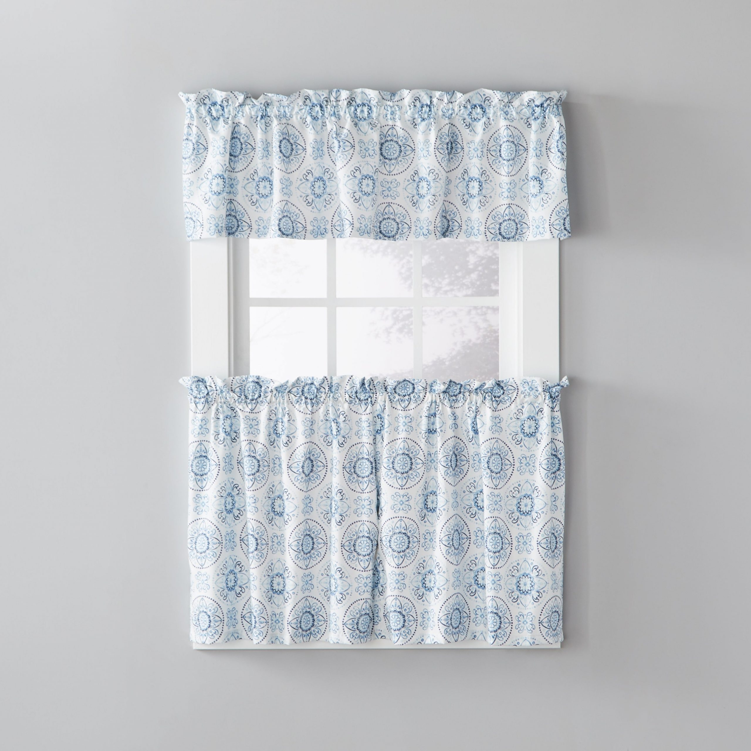 Skl Home Kali 36 Inch Tier Pair With Class Blue Cotton Blend Macrame Trimmed Decorative Window Curtains (View 8 of 20)