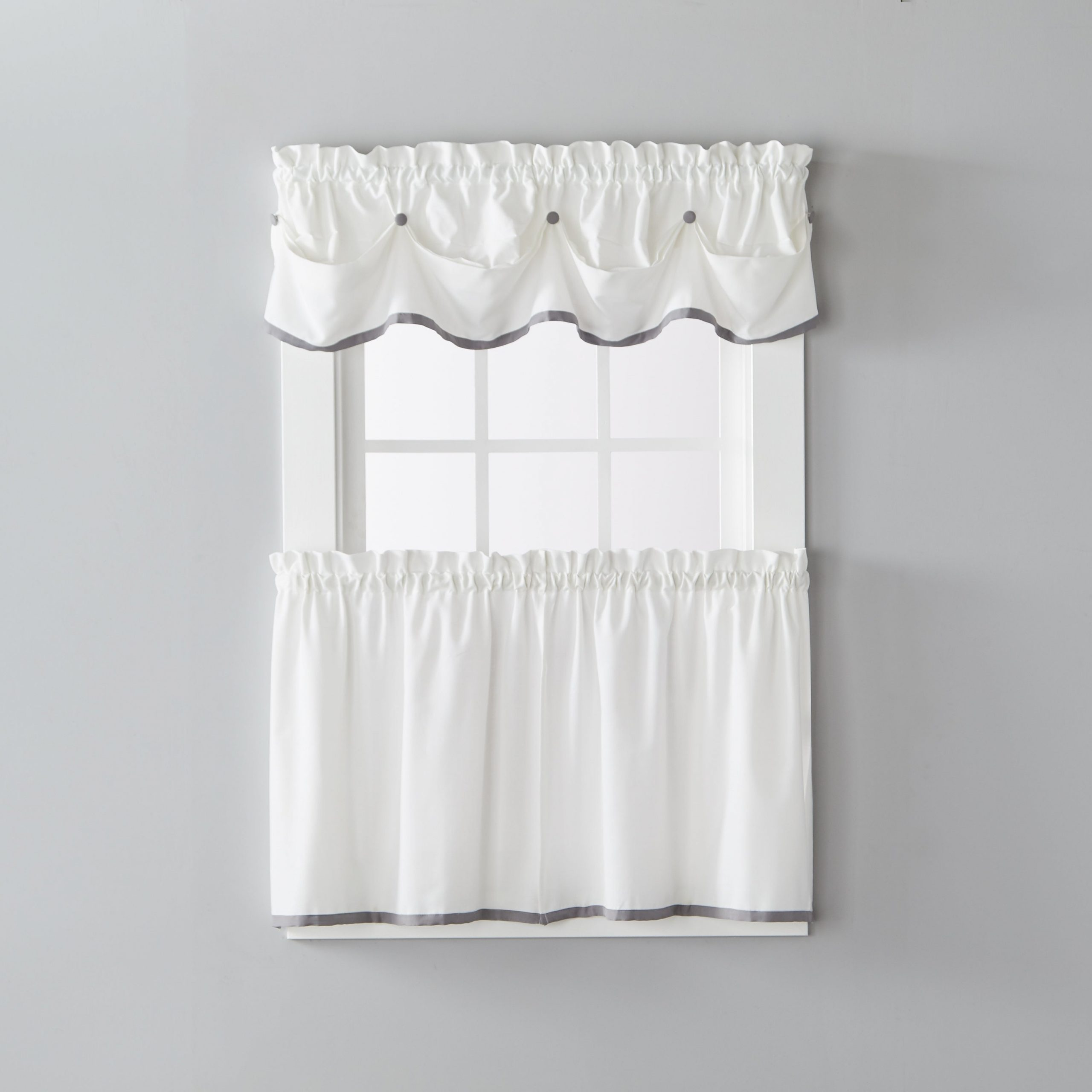 Skl Home Manor 13 Inch Valance In Dove Gray For Flinders Forge 30 Inch Tiers In Dove Grey (View 5 of 20)