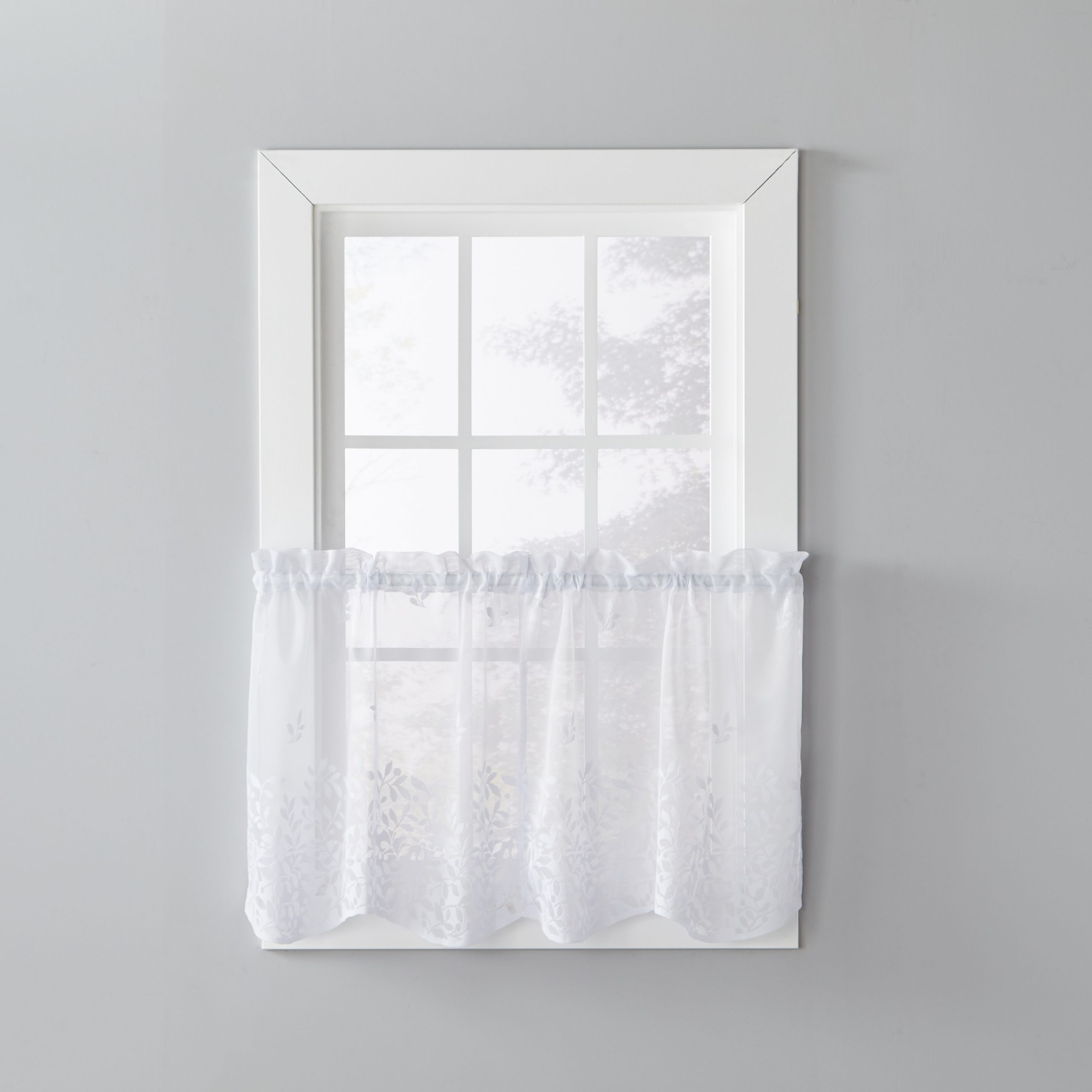 Skl Home Touch Of Spring 24 Inch Tier Pair, White (100 Within Spring Daisy Tiered Curtain 3 Piece Sets (View 17 of 20)