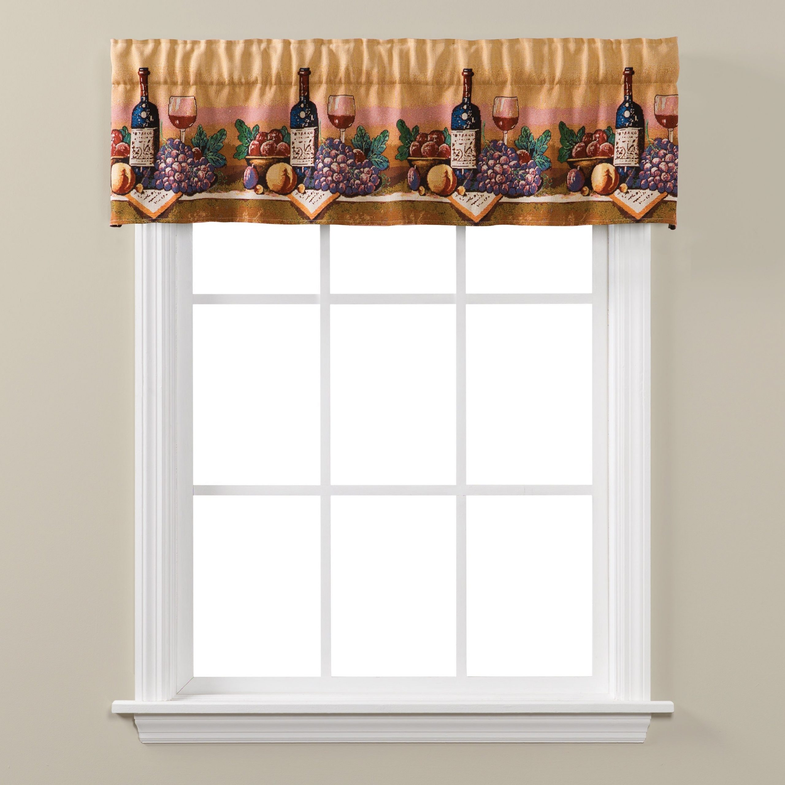 Skl Home Uncork And Unwind Tapestry Valance For Chateau Wines Cottage Kitchen Curtain Tier And Valance Sets (View 17 of 20)