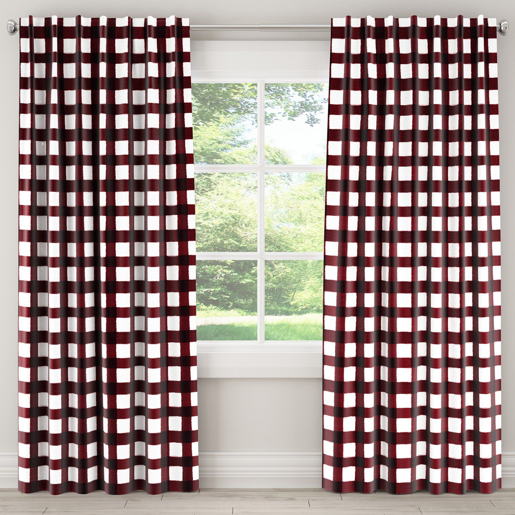 Skyline Furniture Buffalo Square Holiday Red Single Panel Throughout Cotton Blend Classic Checkered Decorative Window Curtains (View 18 of 20)