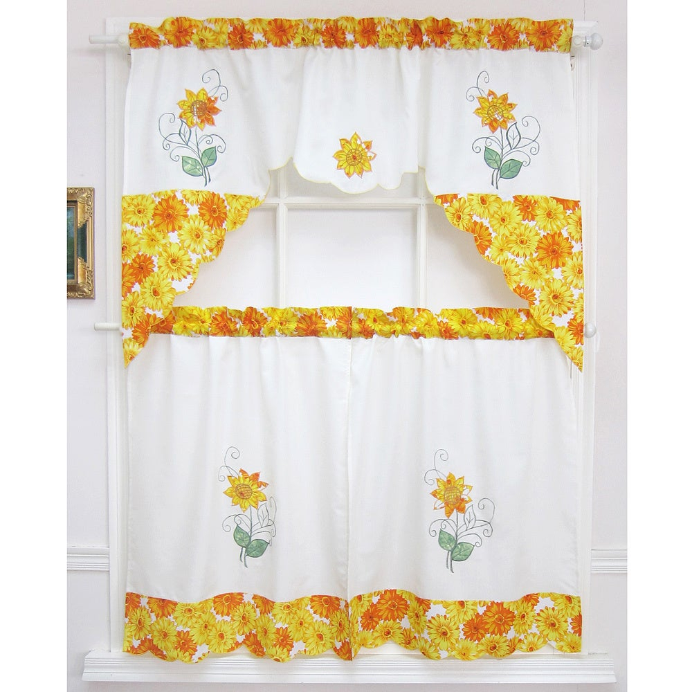 Popular Photo of Spring Daisy Tiered Curtain 3 Piece Sets