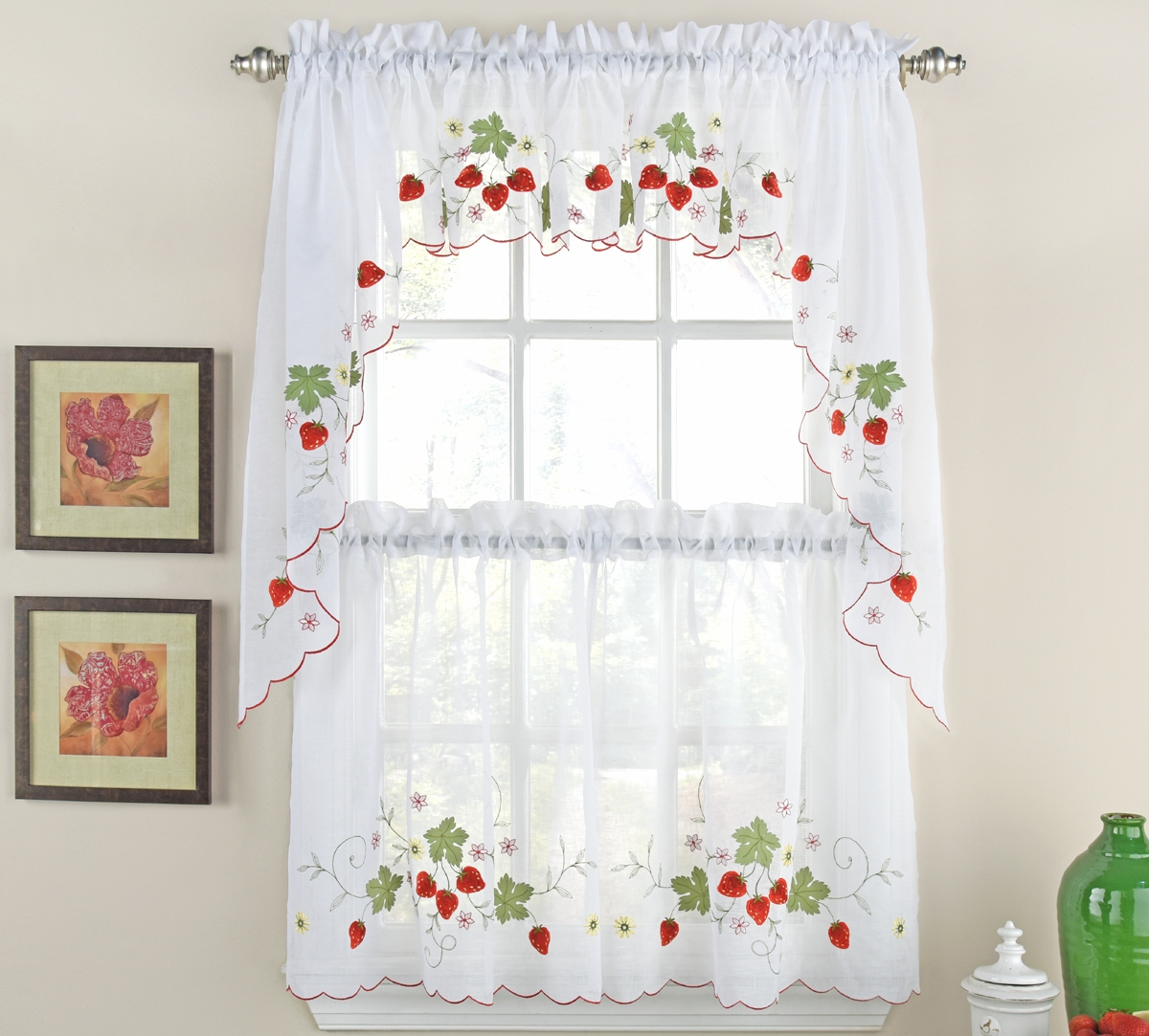 Strawberries Kitchen Curtain Ensemble With Embroidered Floral 5 Piece Kitchen Curtain Sets (View 12 of 20)