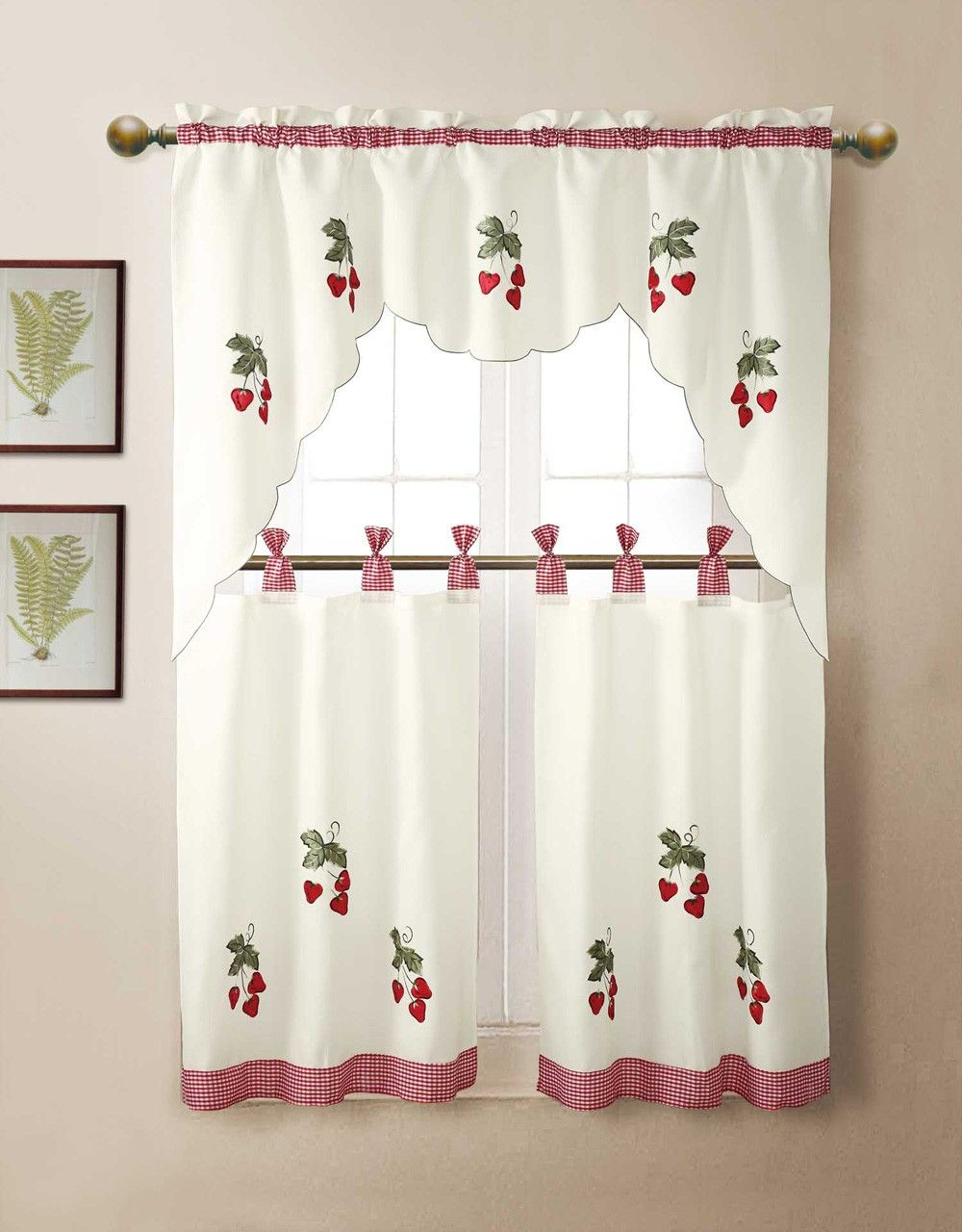 Strawberry Valances | Kitchen Curtains – 15 Wonderful Throughout Embroidered Ladybugs Window Curtain Pieces (View 6 of 20)
