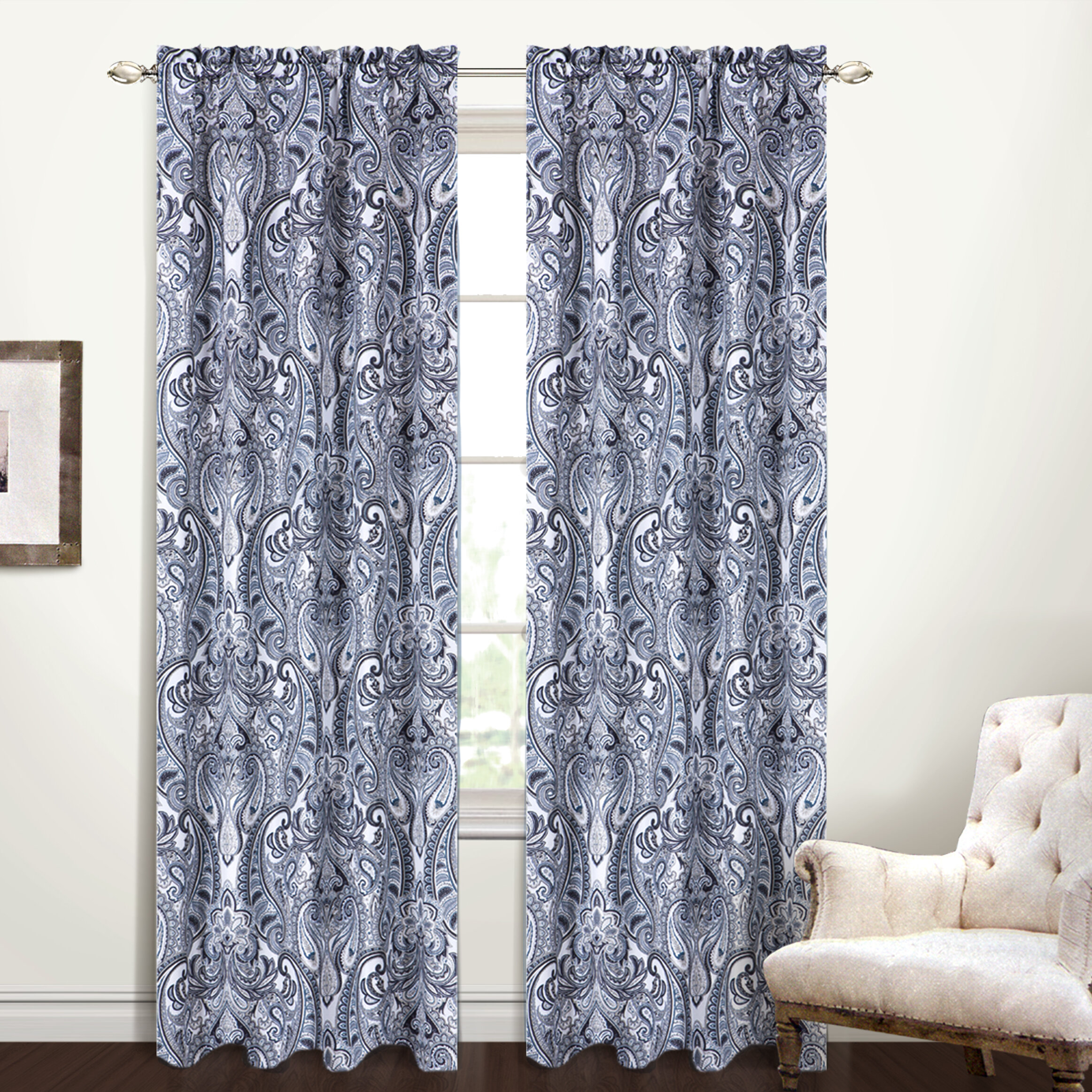 Strongsville Paisley Semi Sheer Rod Pocket Single Curtain Panel Pertaining To Marine Life Motif Knitted Lace Window Curtain Pieces (View 14 of 20)