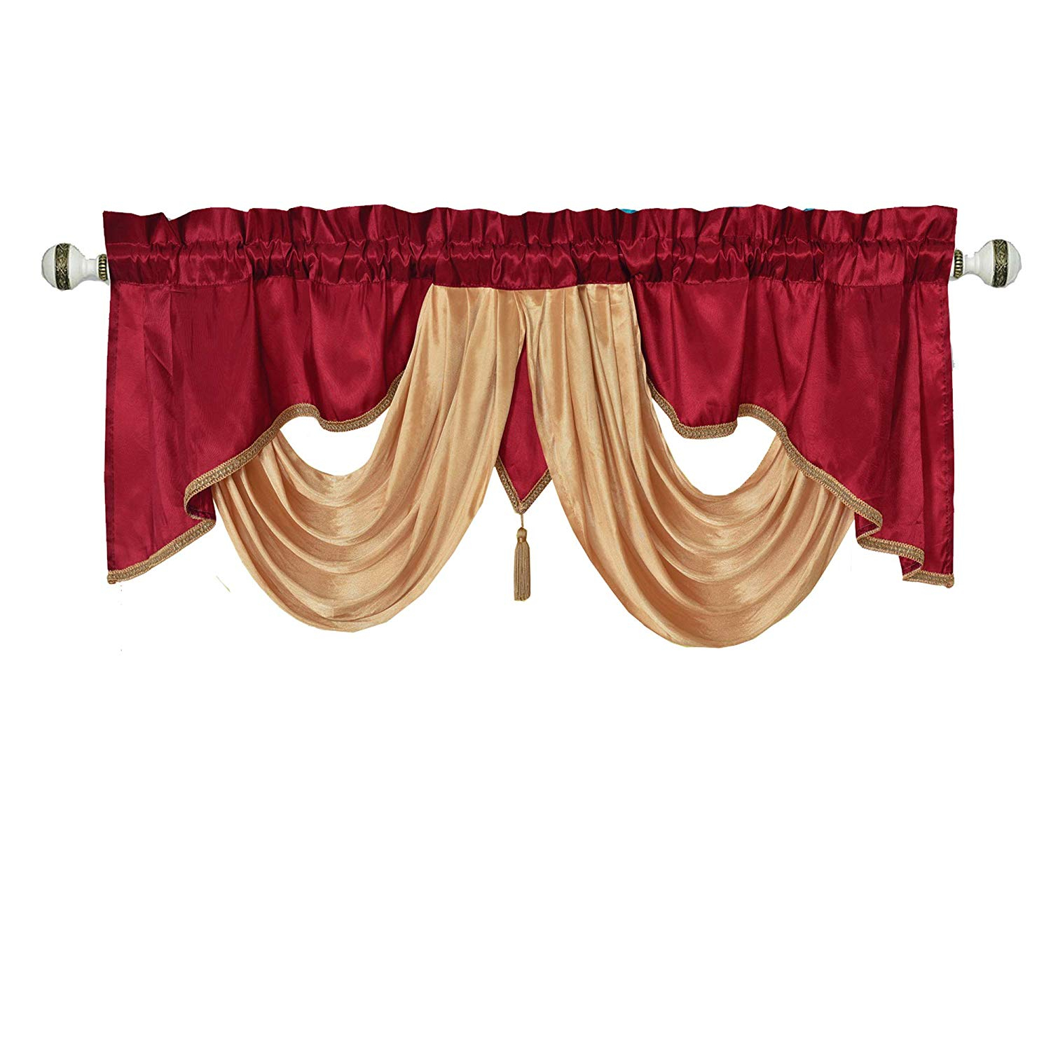 Stunning Victory Swag Valance Count Set Fandangle Waterfall Intended For Kitchen Burgundy/white Curtain Sets (View 20 of 20)