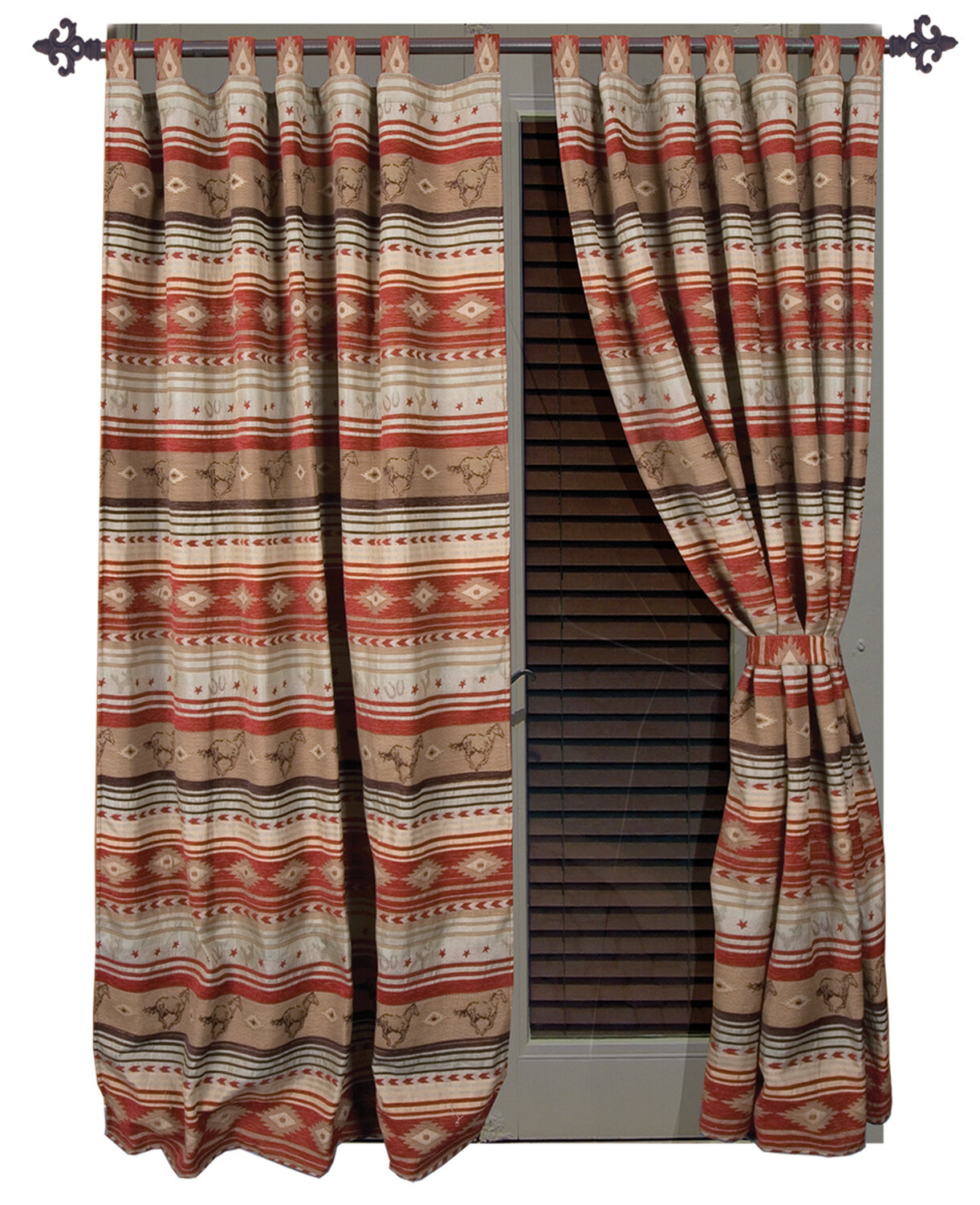 Suhel Striped Tab Top Curtain Panels For Complete Cottage Curtain Sets With An Antique And Aubergine Grapvine Print (View 16 of 20)