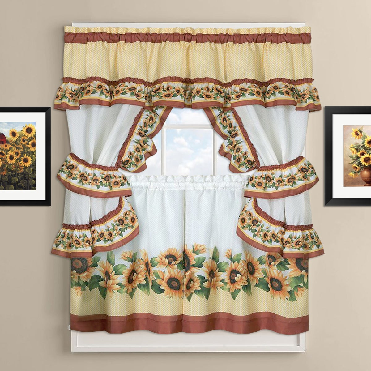 Sunflower Cottage Kitchen Curtain Tier And Valance Set Within Window Curtains Sets With Colorful Marketplace Vegetable And Sunflower Print (View 7 of 20)