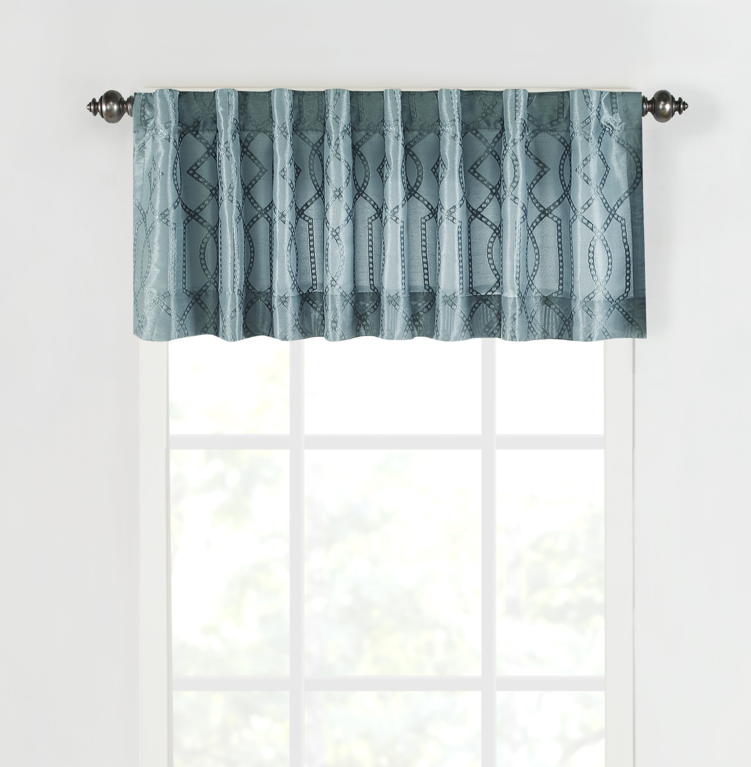 """Sure Fit Adalina Pocket Rod 54"""" W Window Valance For Microfiber 3 Piece Kitchen Curtain Valance And Tiers Sets (View 17 of 20)"""