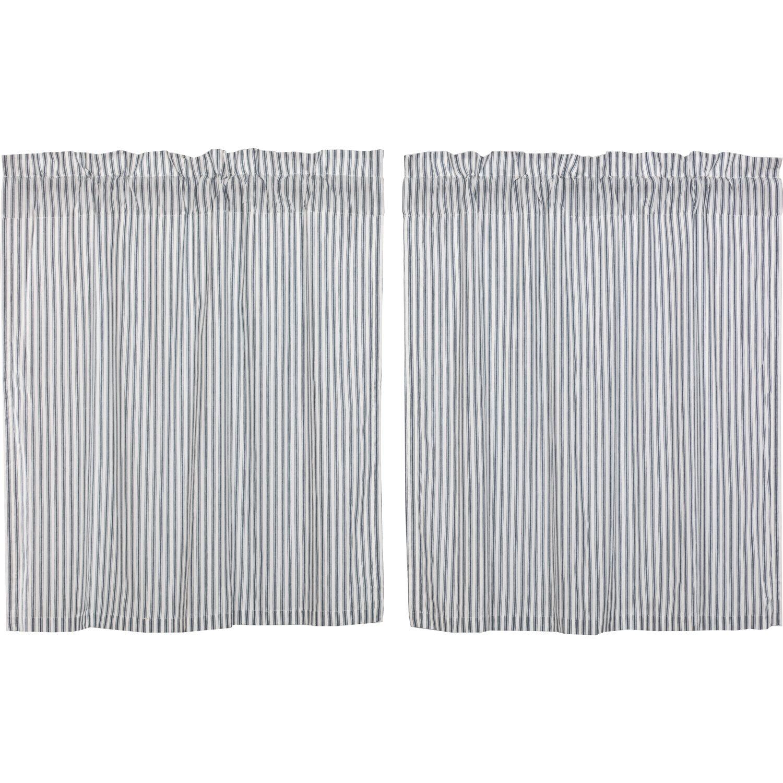 Surikova Ticking Stripe Tier Kitchen Curtain For Cotton Blend Grey Kitchen Curtain Tiers (View 18 of 20)