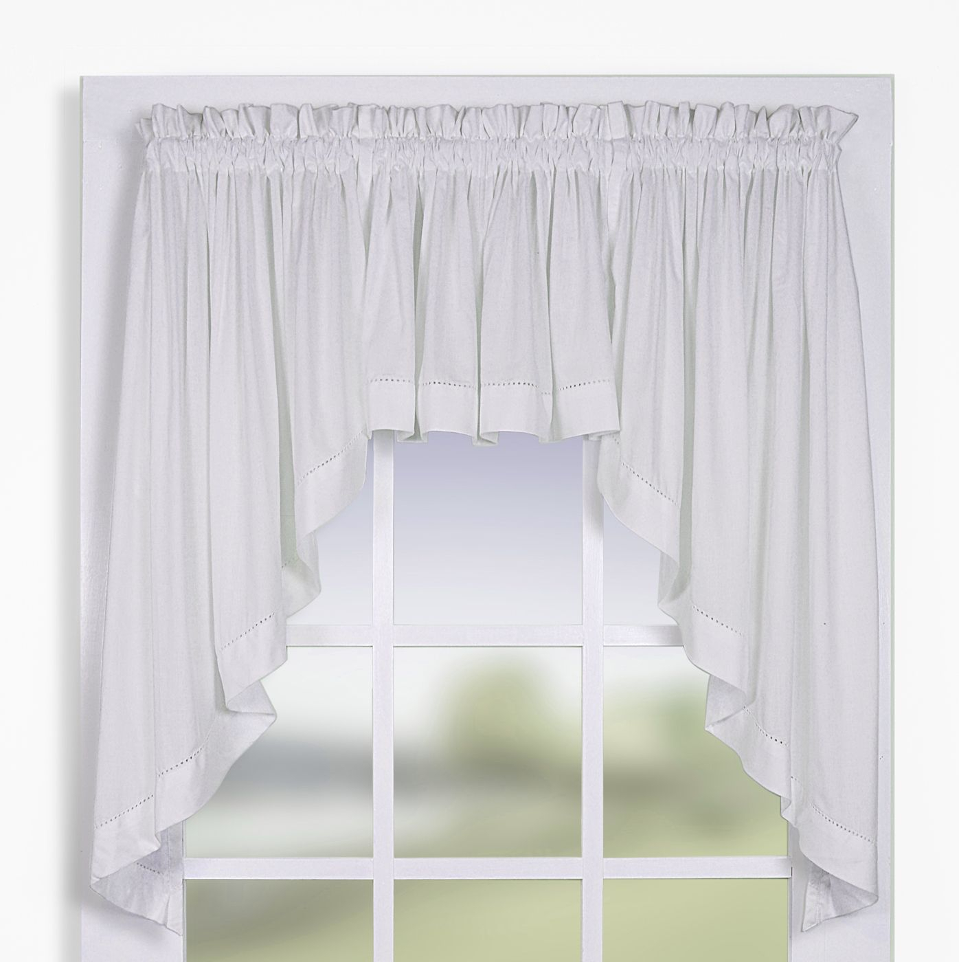 Swag Curtains: Solid, Patterned, Sheer within Maize Vertical Ruffled Waterfall Valance And Curtain Tiers (Image 12 of 20)