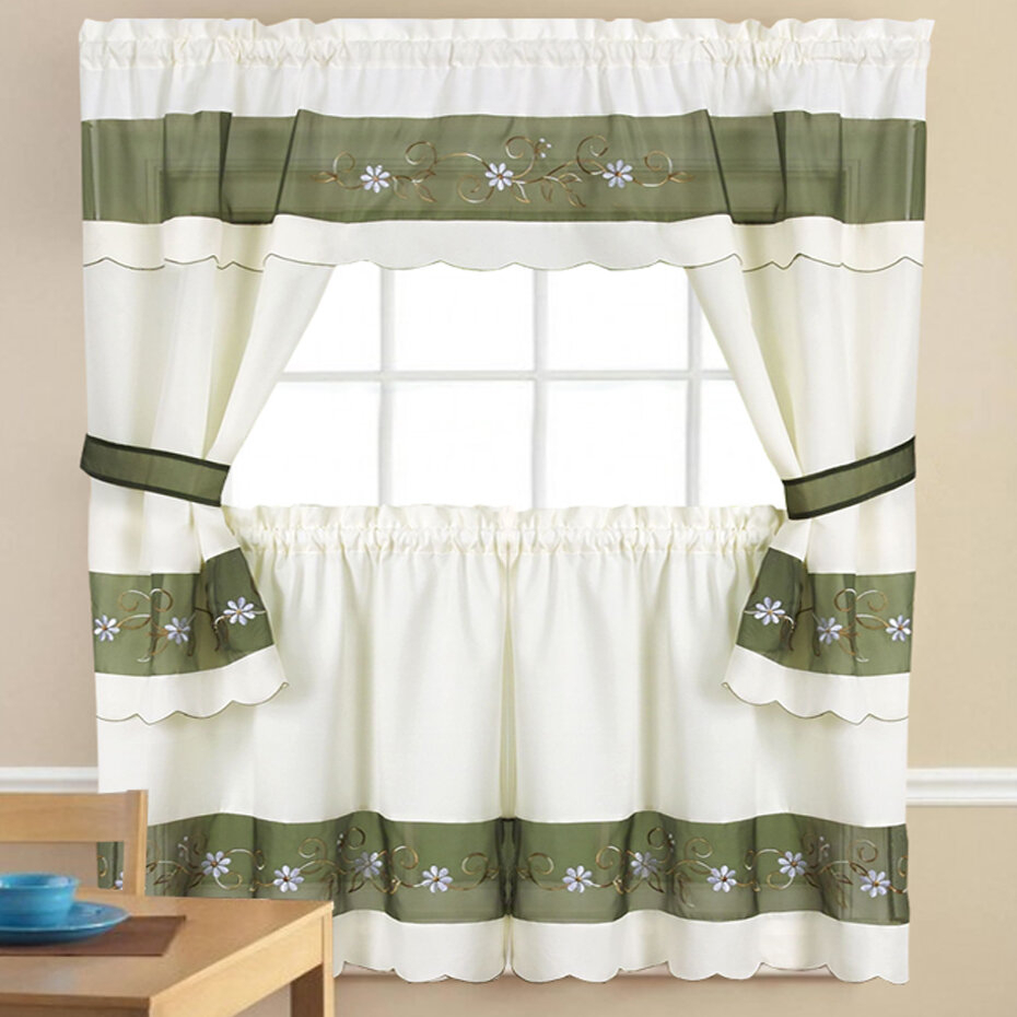 Sweet Home Collection 5 Piece Kitchen Curtain & Reviews Within Chocolate 5 Piece Curtain Tier And Swag Sets (View 15 of 20)