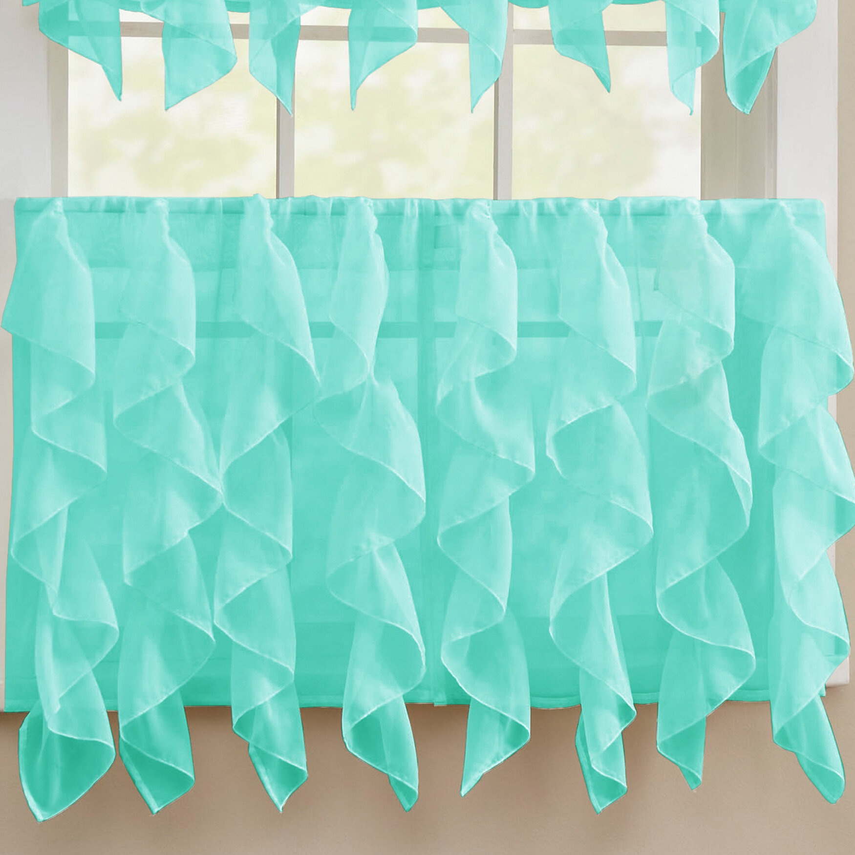 Sweet Home Collection Chic Sheer Voile Vertical Ruffle Window Kitchen Tier  Curtain inside Maize Vertical Ruffled Waterfall Valance and Curtain Tiers (Image 13 of 20)