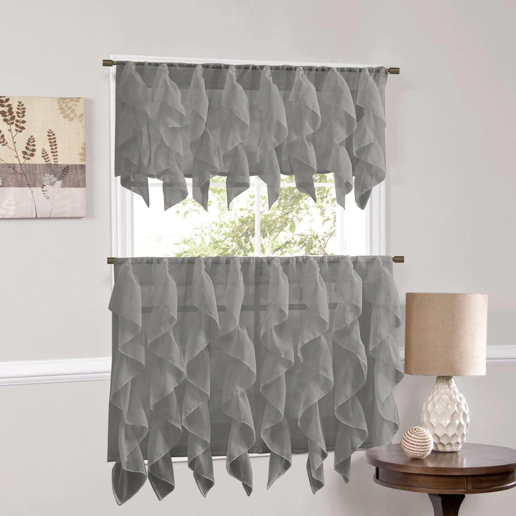 Sweet Home Collection Grey Vertical Ruffled Waterfall Valance And Curtain Tiers With Regard To Silver Vertical Ruffled Waterfall Valance And Curtain Tiers (View 10 of 20)