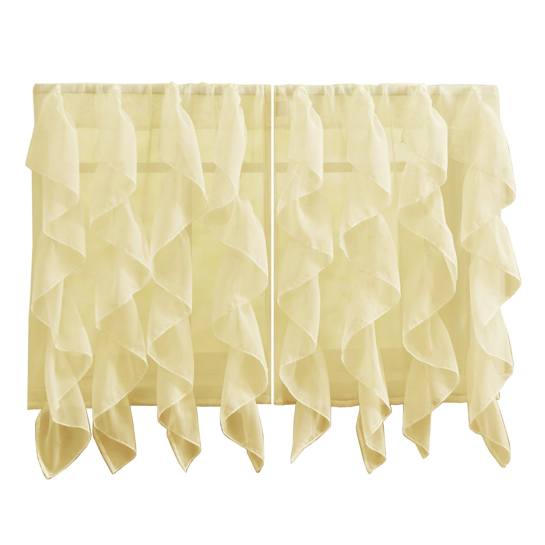Sweet Home Collection Maize Vertical Ruffled Waterfall Valance And Curtain  Tiers inside Maize Vertical Ruffled Waterfall Valance And Curtain Tiers (Image 14 of 20)