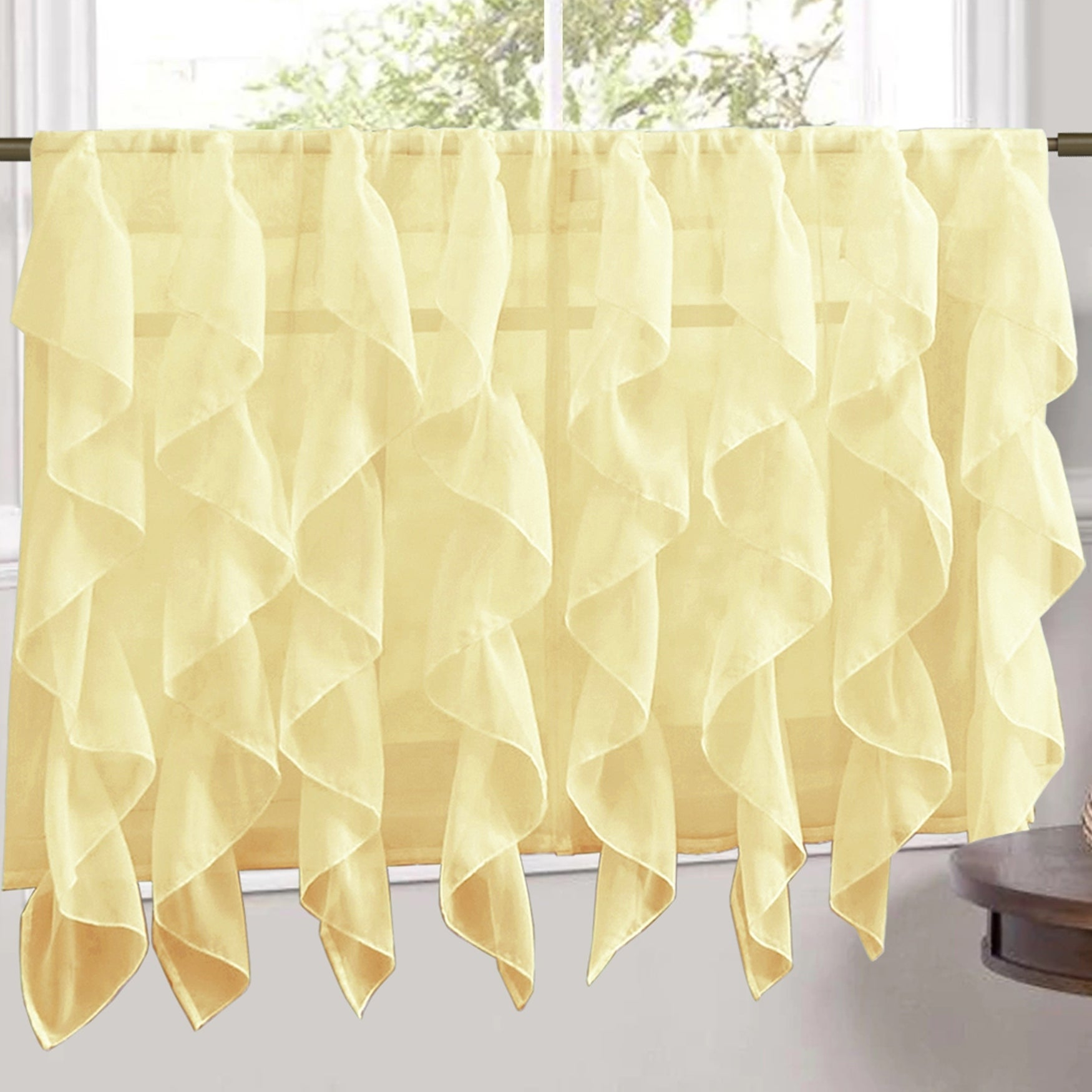 Sweet Home Collection Maize Vertical Ruffled Waterfall Valance And Curtain  Tiers regarding Maize Vertical Ruffled Waterfall Valance and Curtain Tiers (Image 15 of 20)