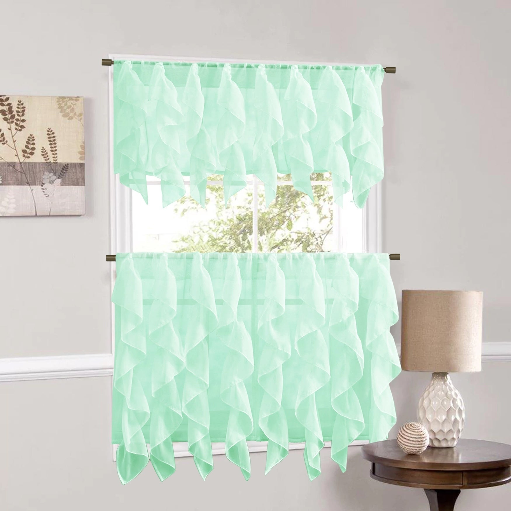 Featured Photo of Maize Vertical Ruffled Waterfall Valance And Curtain Tiers