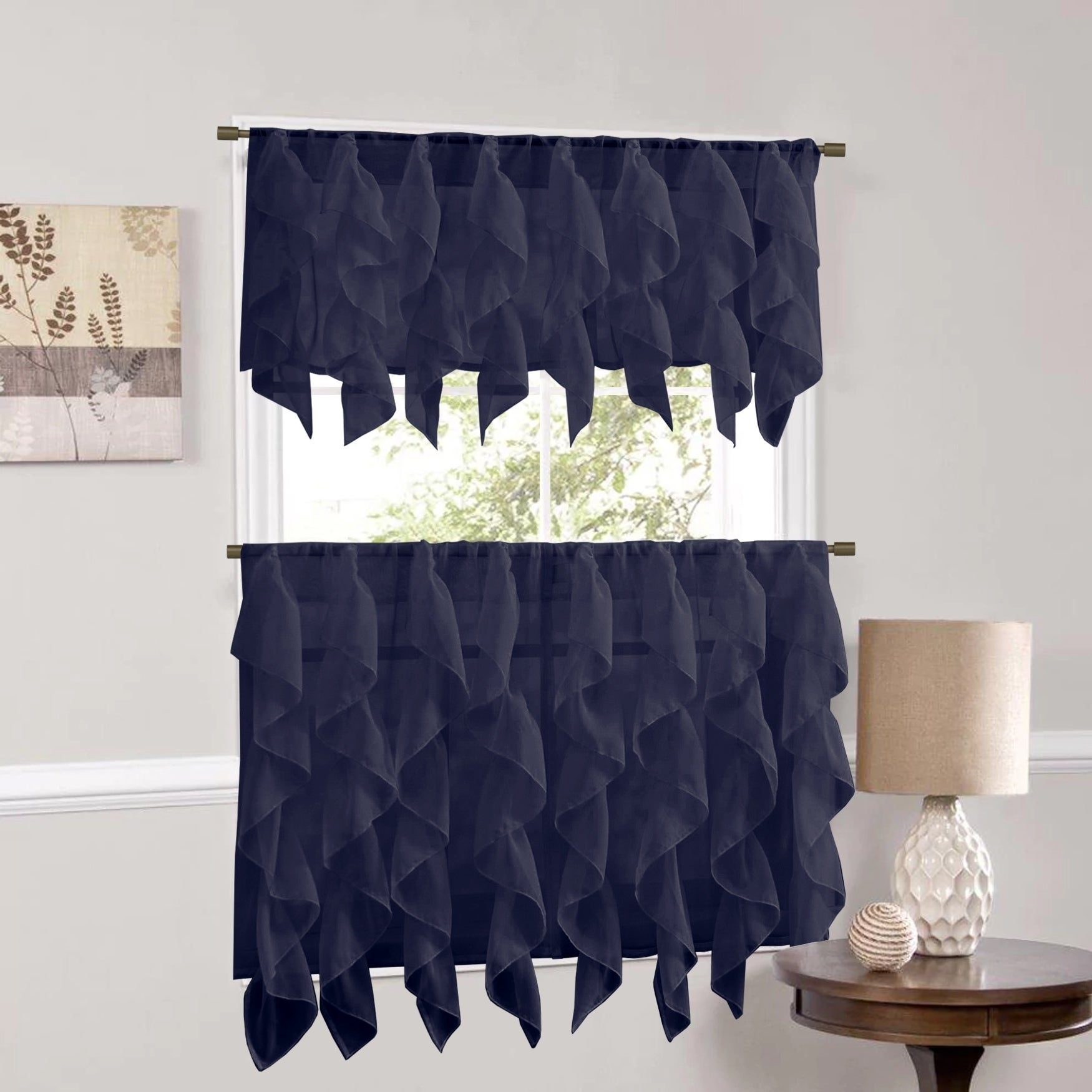 Sweet Home Collection Navy Vertical Ruffled Waterfall Valance And Curtain Tiers Inside Silver Vertical Ruffled Waterfall Valance And Curtain Tiers (View 11 of 20)