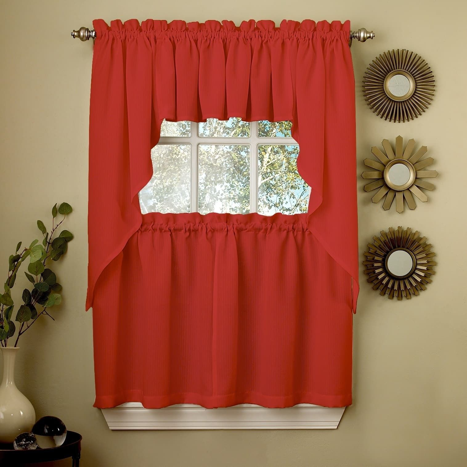 Sweet Home Collection Opaque Red Ribcord Kitchen Curtain Pertaining To Scroll Leaf 3 Piece Curtain Tier And Valance Sets (View 20 of 20)