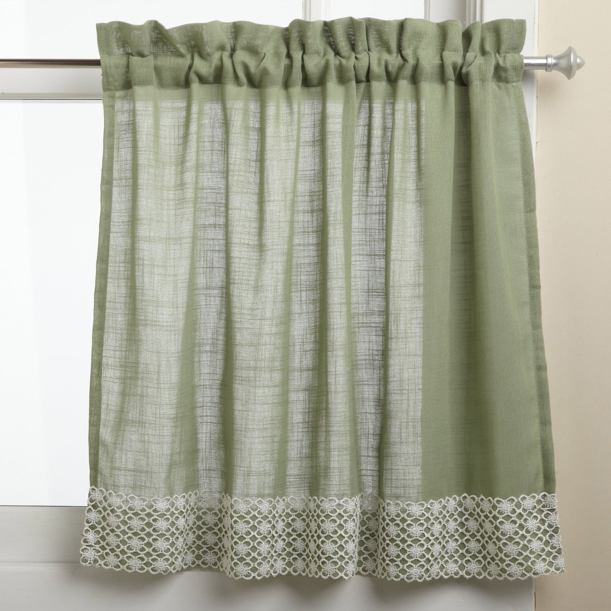 Sweet Home Collection Sage Country Style White Daisy Lace For Country Style Curtain Parts With White Daisy Lace Accent (View 19 of 20)