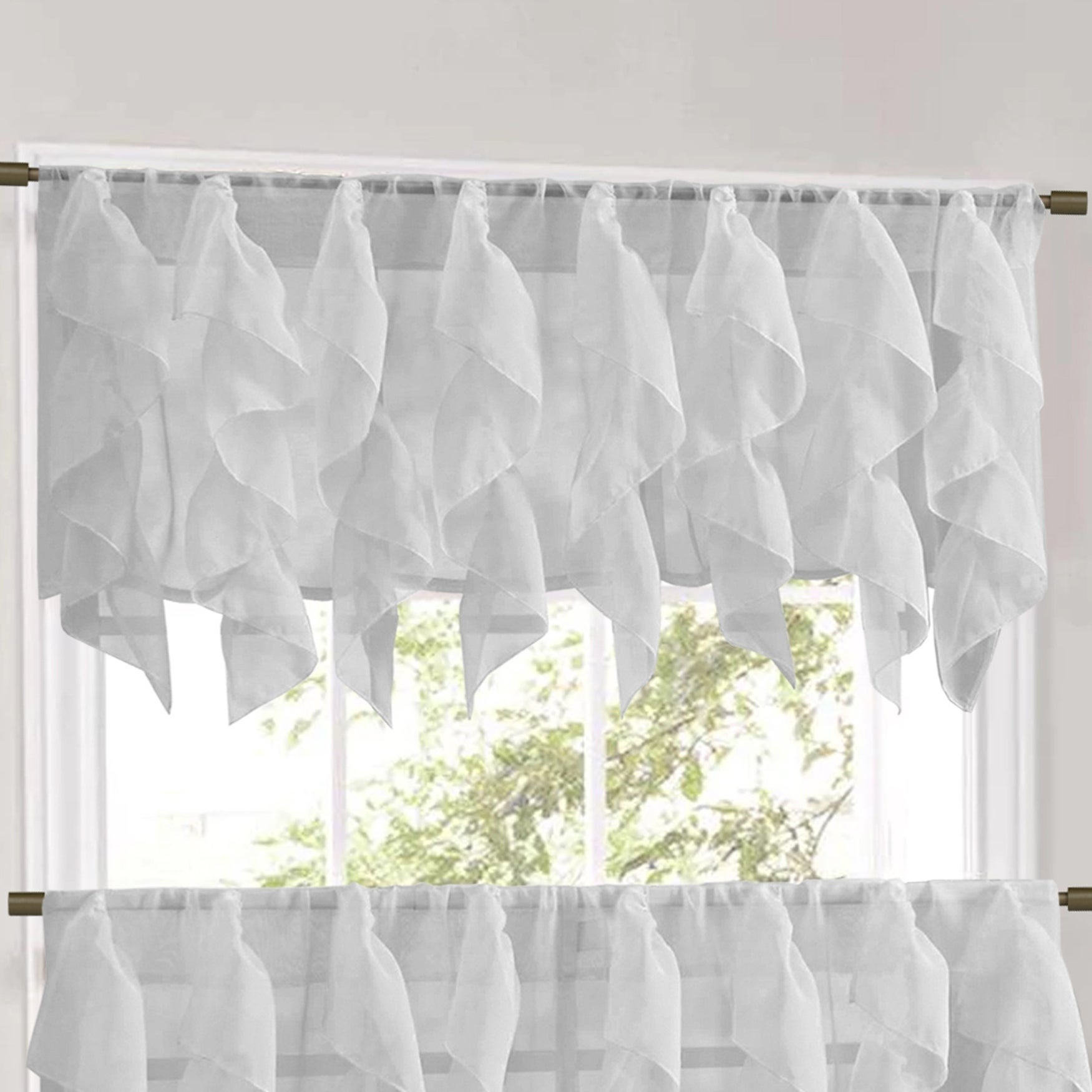 Sweet Home Collection Silver Vertical Ruffled Waterfall Valance And Curtain Tiers For Silver Vertical Ruffled Waterfall Valance And Curtain Tiers (View 2 of 20)