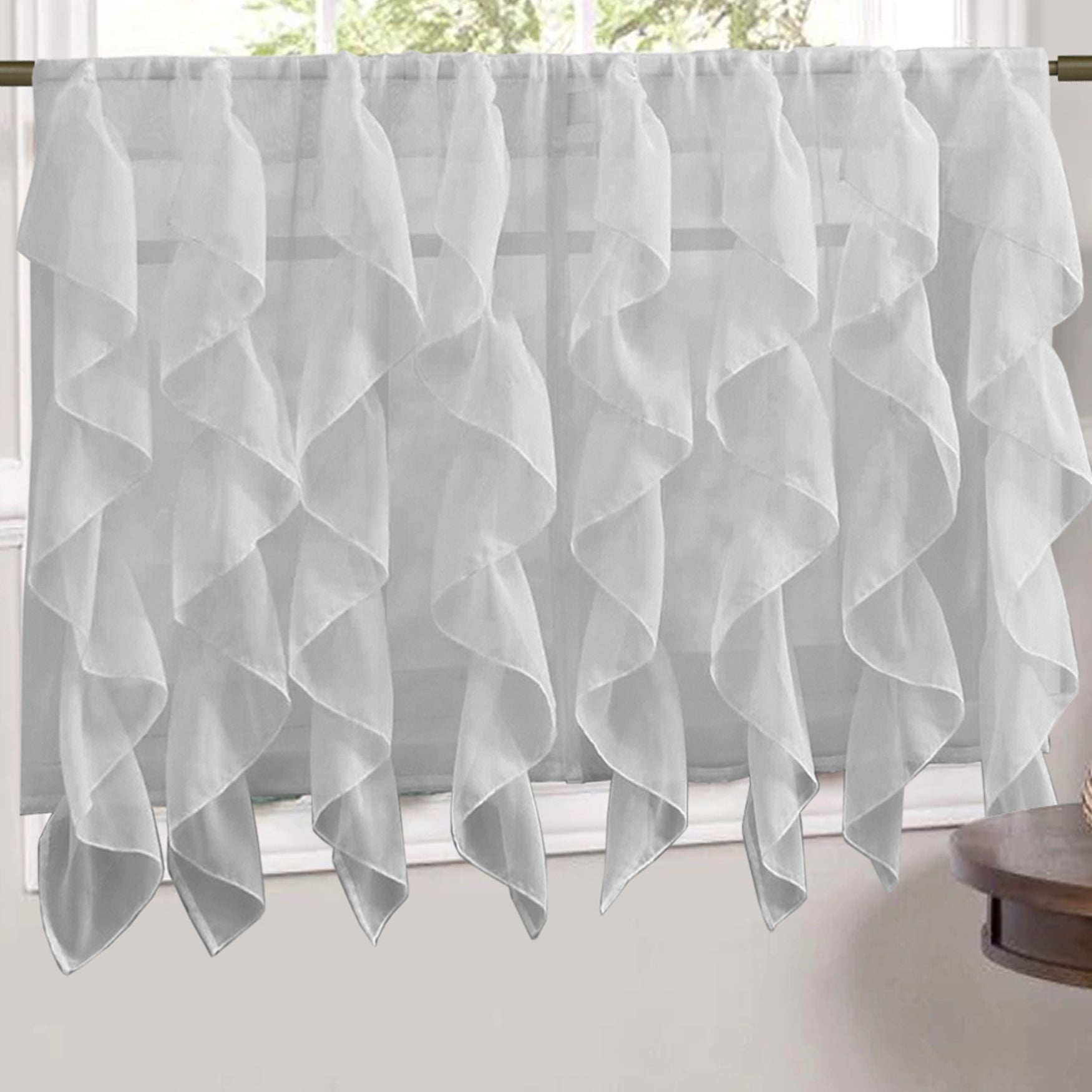 Sweet Home Collection Silver Vertical Ruffled Waterfall Valance And Curtain Tiers With Regard To Silver Vertical Ruffled Waterfall Valance And Curtain Tiers (View 13 of 20)
