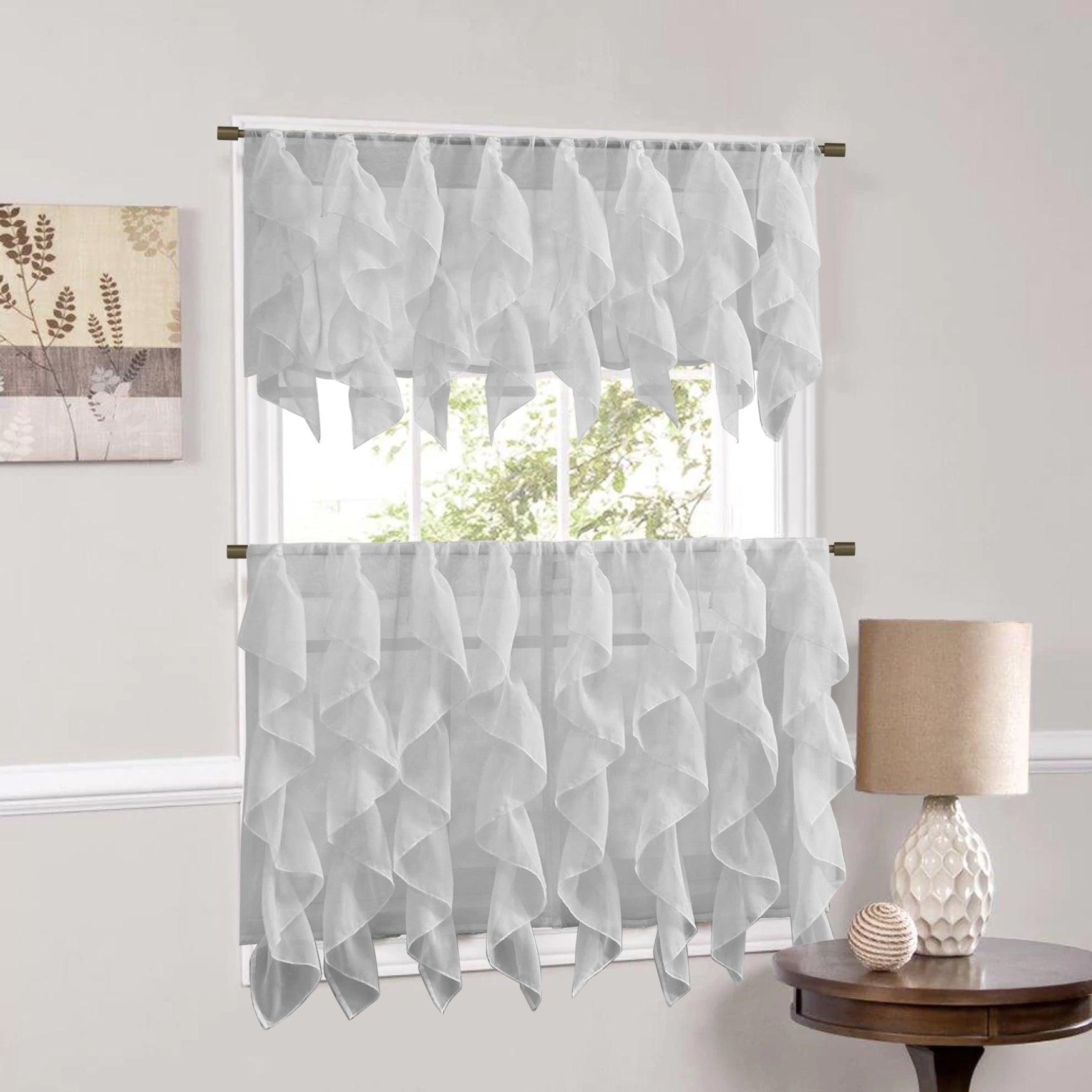 Sweet Home Collection Silver Vertical Ruffled Waterfall Valance And Curtain Tiers With Silver Vertical Ruffled Waterfall Valance And Curtain Tiers (View 1 of 20)