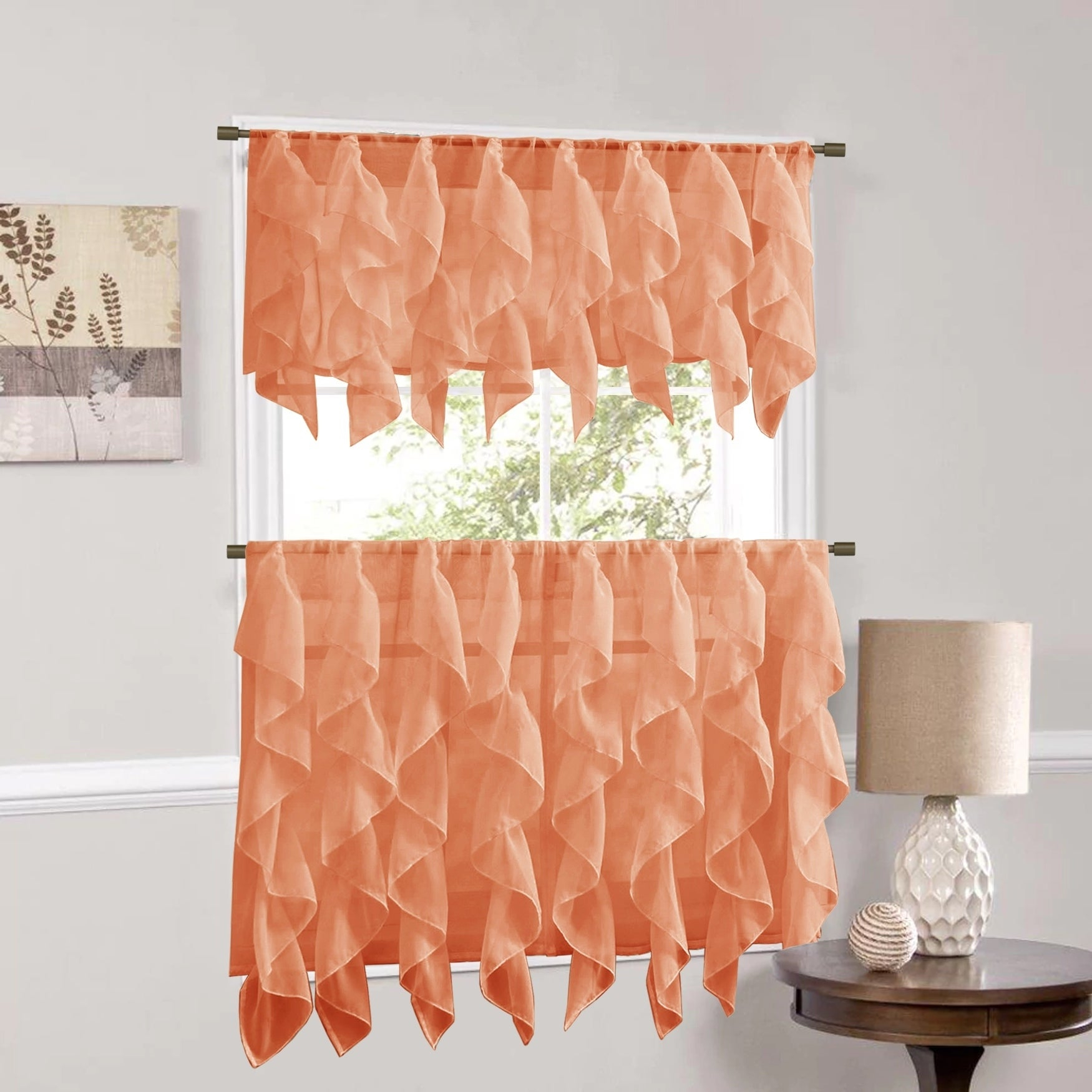 Sweet Home Collection Spice Vertical Ruffled Waterfall Valance And Curtain Tiers Pertaining To Silver Vertical Ruffled Waterfall Valance And Curtain Tiers (View 6 of 20)