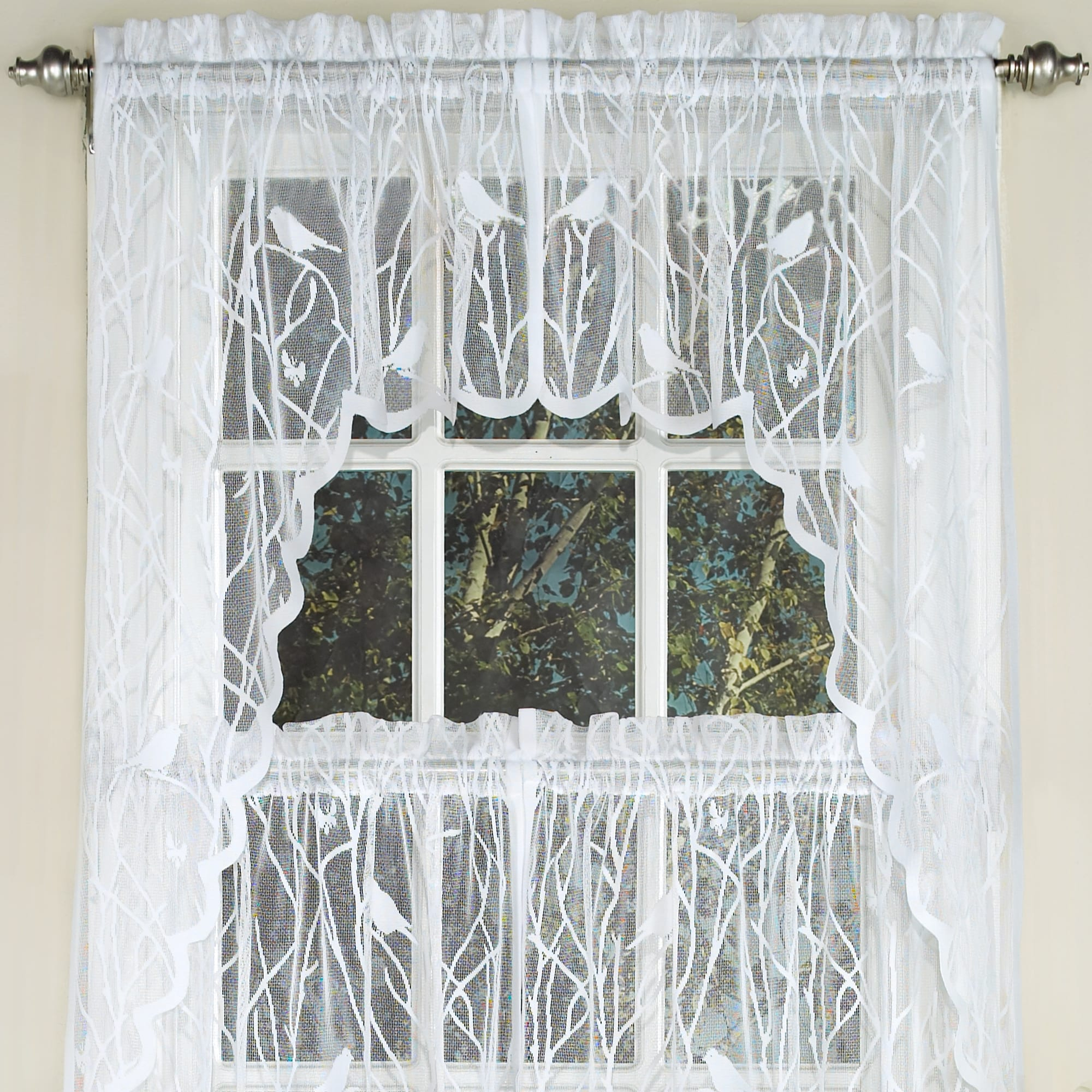 Sweet Home Collection White Polyester Knit Lace Bird Motif With Regard To Ivory Knit Lace Bird Motif Window Curtain (View 18 of 20)