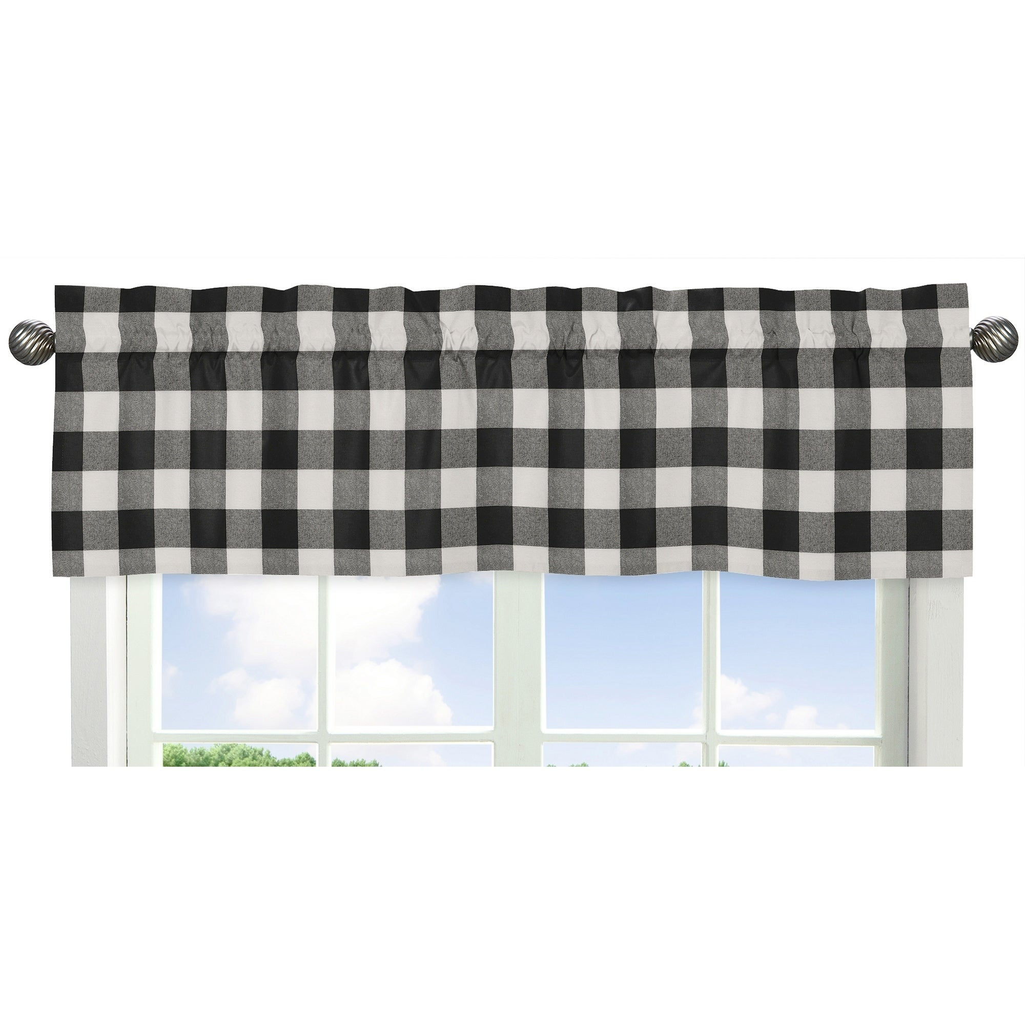 Sweet Jojo Designs Black And White Rustic Woodland Flannel Buffalo Plaid Check Collection Window Curtain Valance Pertaining To Grandin Curtain Valances In Black (View 2 of 20)