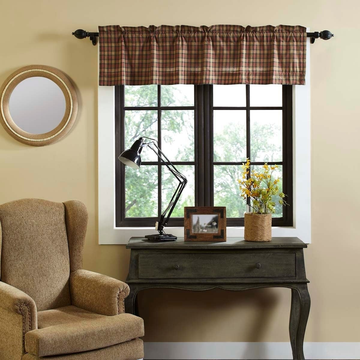 Tan Primitive Kitchen Curtains Vhc Crosswoods Valance Rod Pocket Cotton Plaid In Primitive Kitchen Curtains (View 18 of 20)