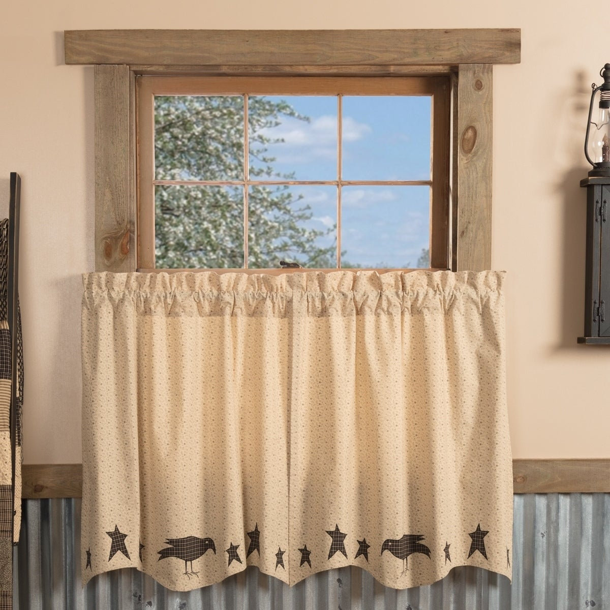 Tan Primitive Kitchen Curtains Vhc Kettle Grove Crow And Star Tier Pair Rod Pocket Cotton Star Appliqued For Forest Valance And Tier Pair Curtains (View 8 of 20)