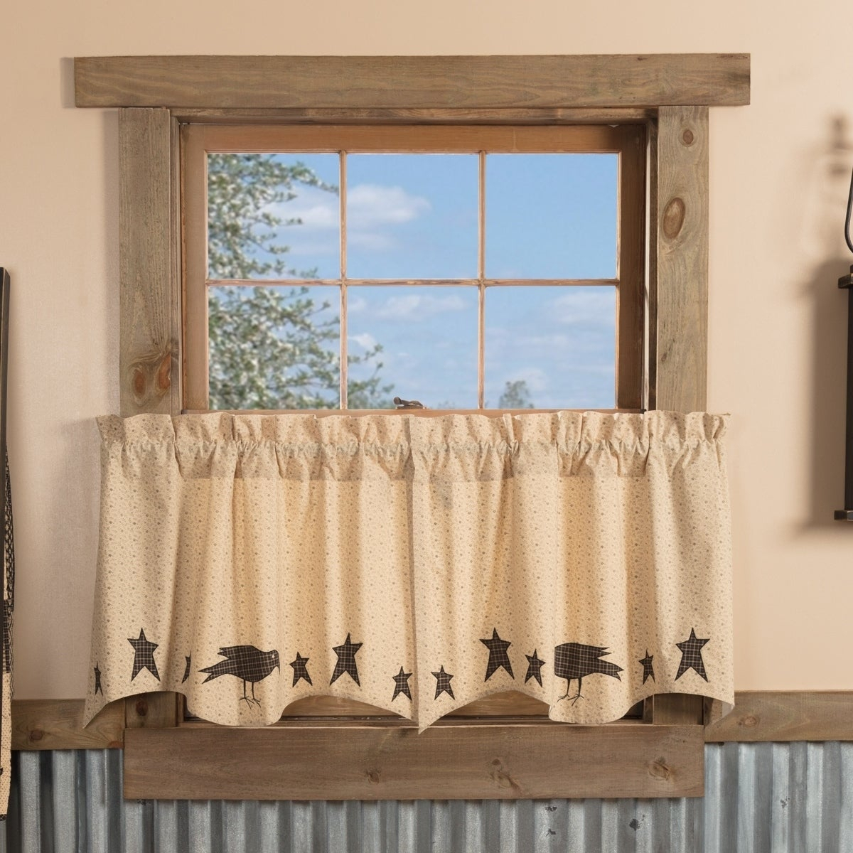 Tan Primitive Kitchen Curtains Vhc Kettle Grove Crow And Star Tier Pair Rod Pocket Cotton Star Appliqued Throughout Primitive Kitchen Curtains (View 12 of 20)