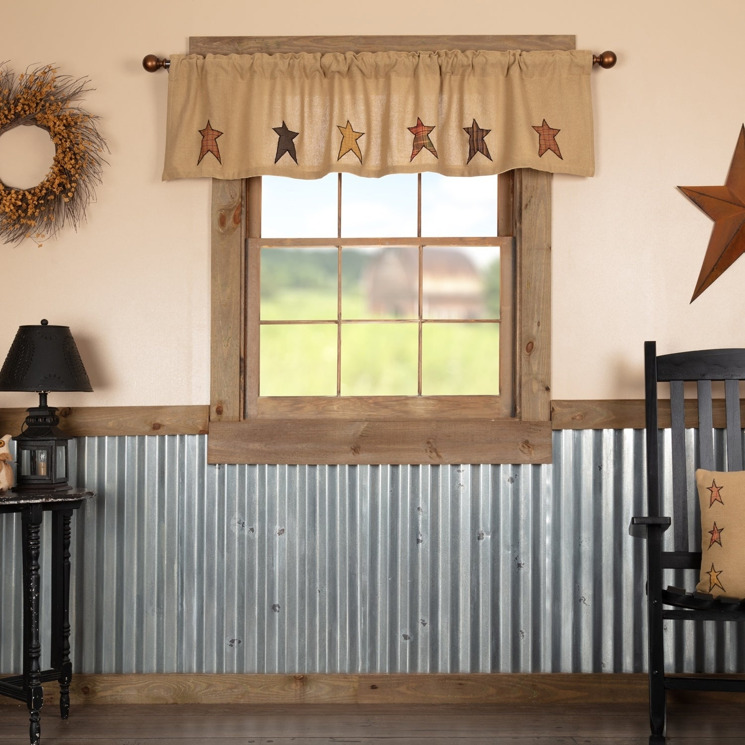 Tan Primitive Kitchen Curtains Vhc Stratton Stars Valance Rod Pocket Cotton Star Appliqued Cotton Burlap – Valance 16x72 With Regard To Primitive Kitchen Curtains (Gallery 4 of 20)