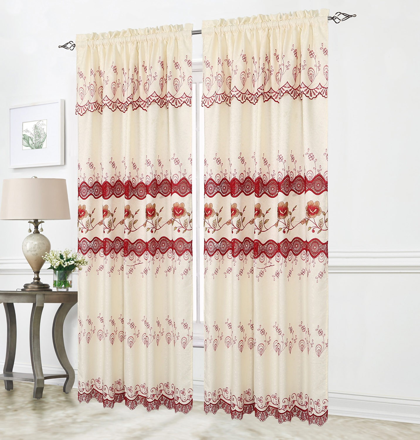 Tania Embroidered Macrame Window Panel, Burgundy, 54X84 Inches For Coffee Drinks Embroidered Window Valances And Tiers (View 14 of 20)
