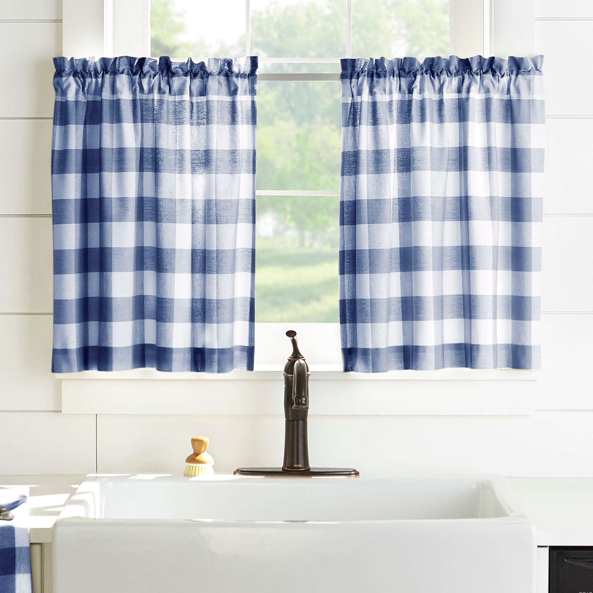 The Gray Barn Emily Gulch Buffalo Check Kitchen Window Tier Set Inside Classic Navy Cotton Blend Buffalo Check Kitchen Curtain Sets (View 6 of 20)
